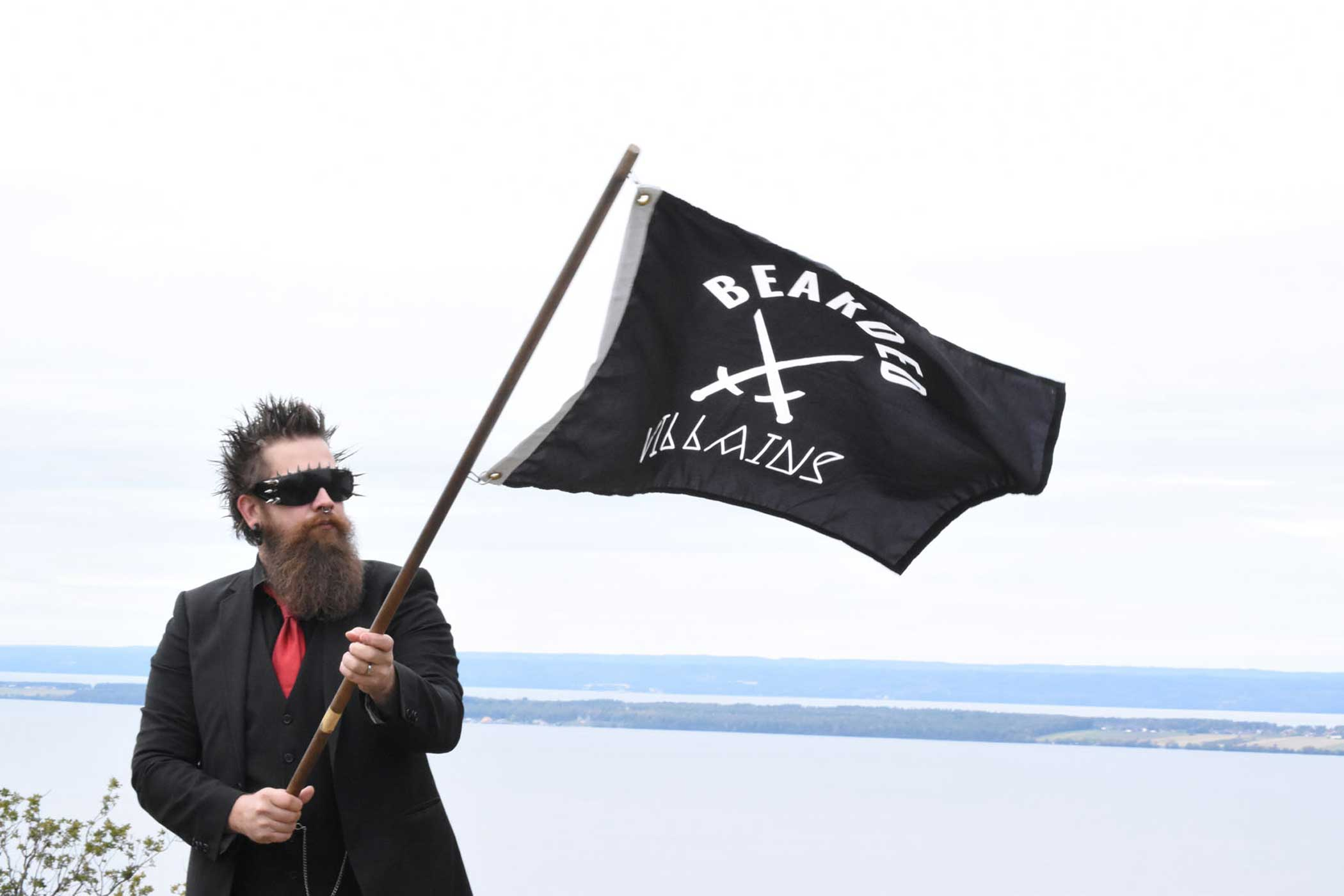 Andreas Fransson waves the Bearded Villains flag.