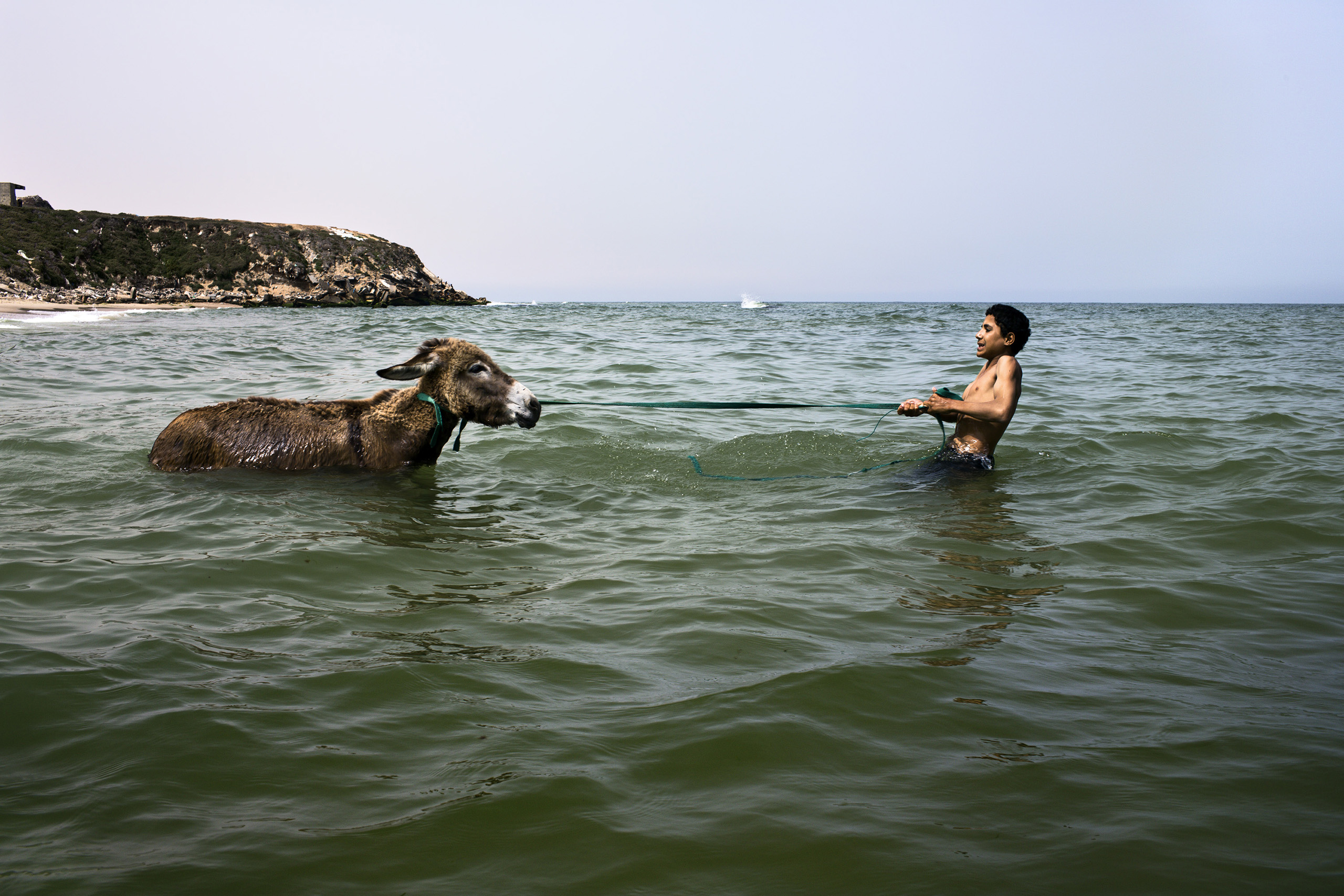 A young boy attempts to bathe his reluctant donkey in the sea, directly beside his home on the outskirts of the Deir al-Balah Refugee camp.