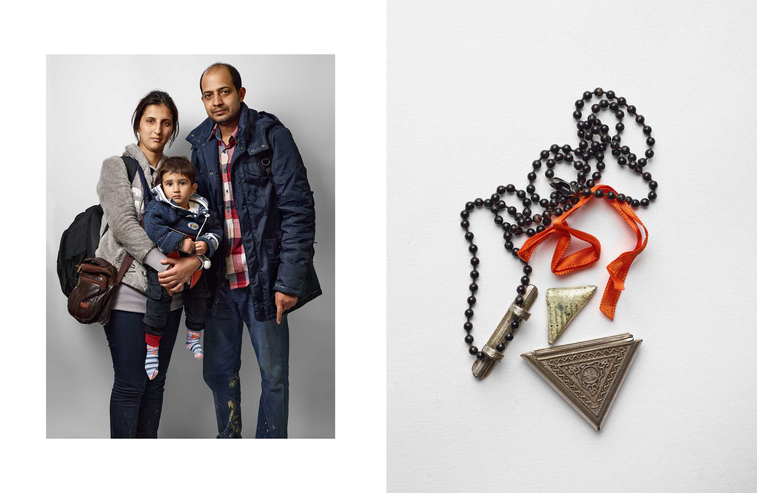 "Parastoo, 23; Nooradin, 15 months; Mohsen, 31; from Iran;                                ""We're going to Italy. I bought this pendant a year ago in Iran. It has a part of the Quran written on paper inside.                               I wear it to bring us luck. It worked—we're here."""