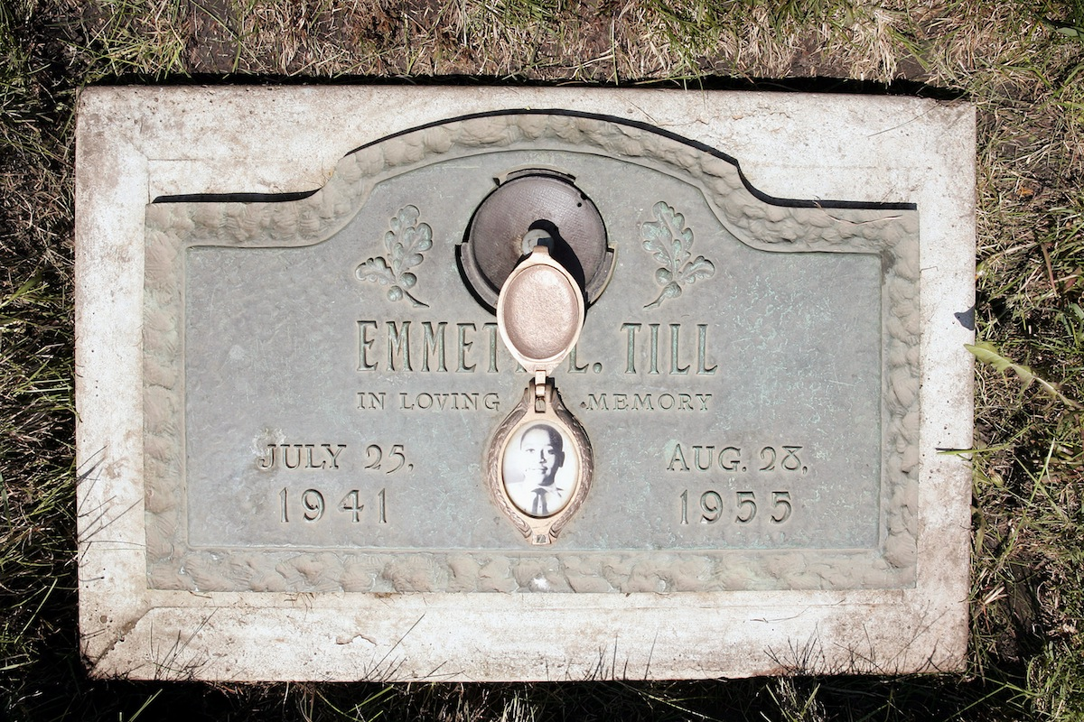 A plaque marks the gravesite of Emmett Till at Burr Oak Cemetery, seen on May 4, 2005 in Aslip, Ill.