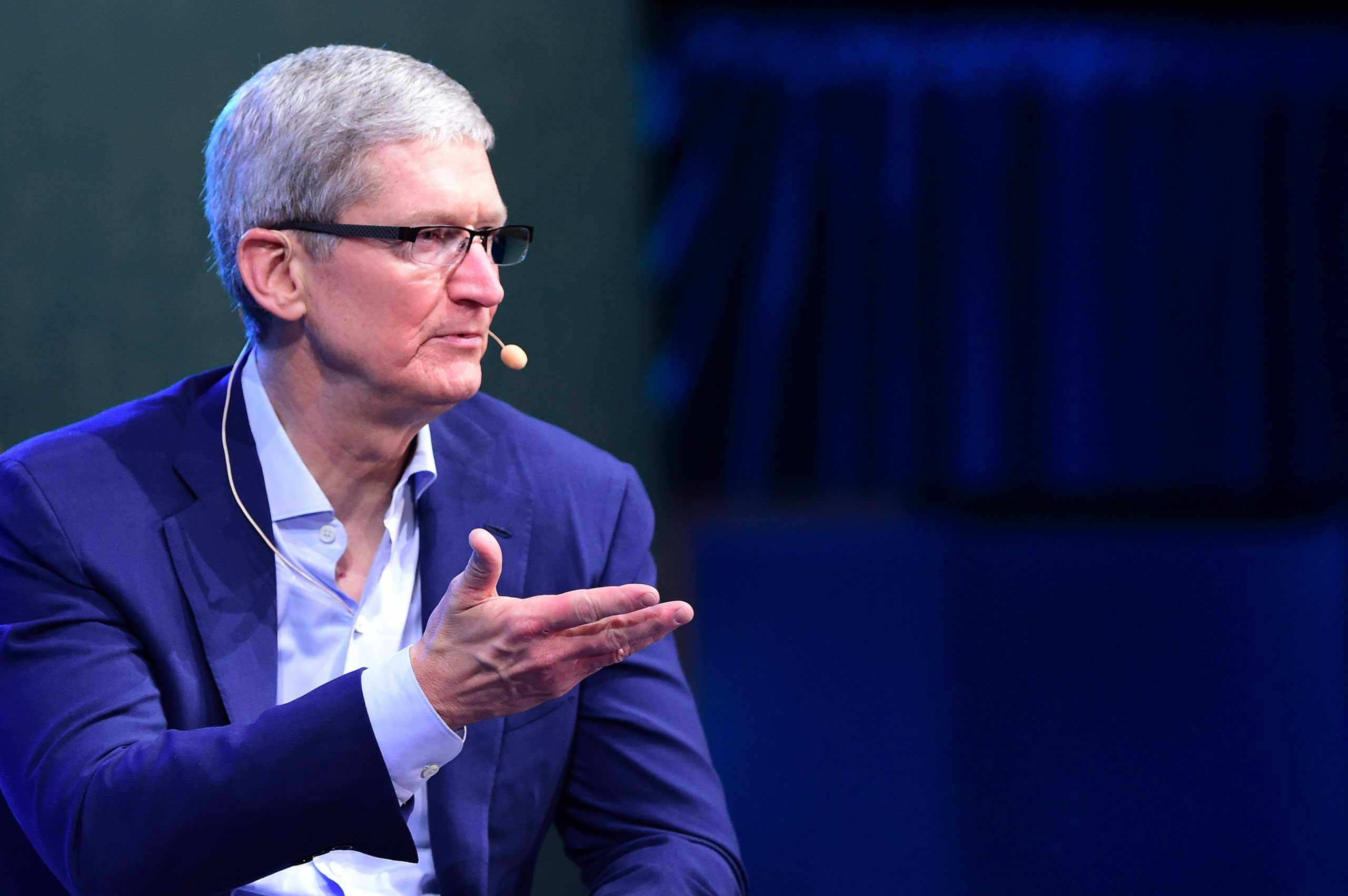 Tim Cook, CEO of Apple, gestures while responding to questions in Laguna Beach, California at the opening of the 2015 WSJD Live, on Oct. 19, 2015.