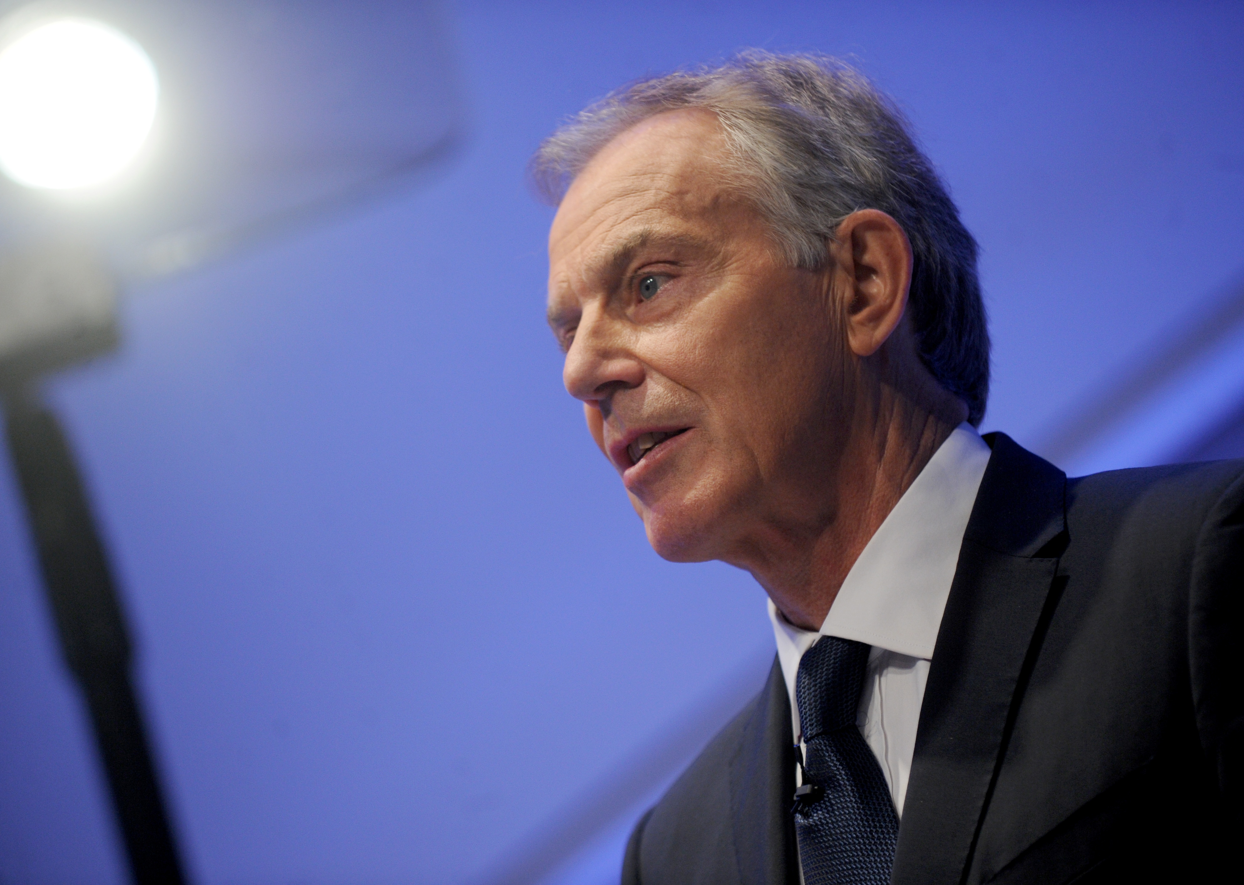 Tony Blair delivers a speech at the National September 11 Memorial Museum Auditorium in New York City on Oct. 6, 2015.
