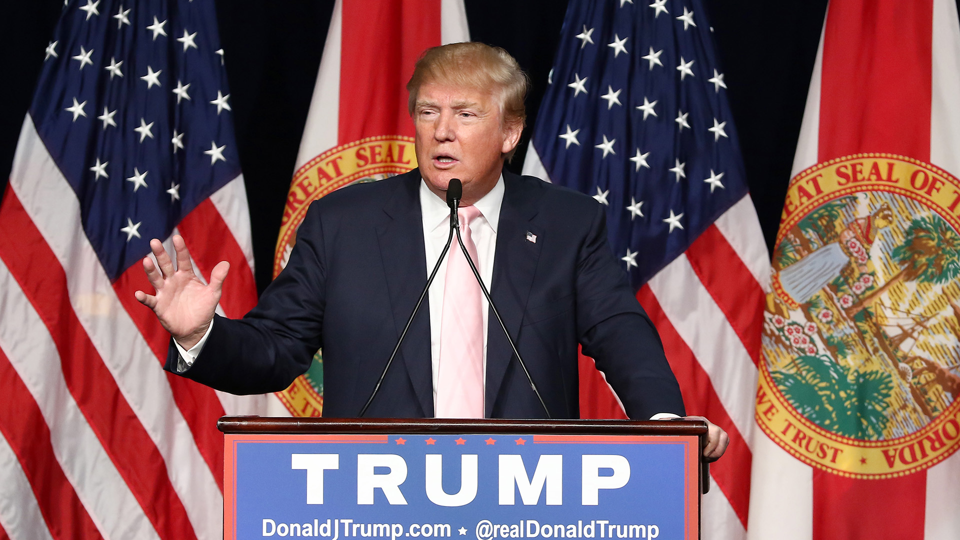 Presidential candidate Donald Trump is seen campaigning at Trump National Doral on October 23, 2015 in Doral, Florida.