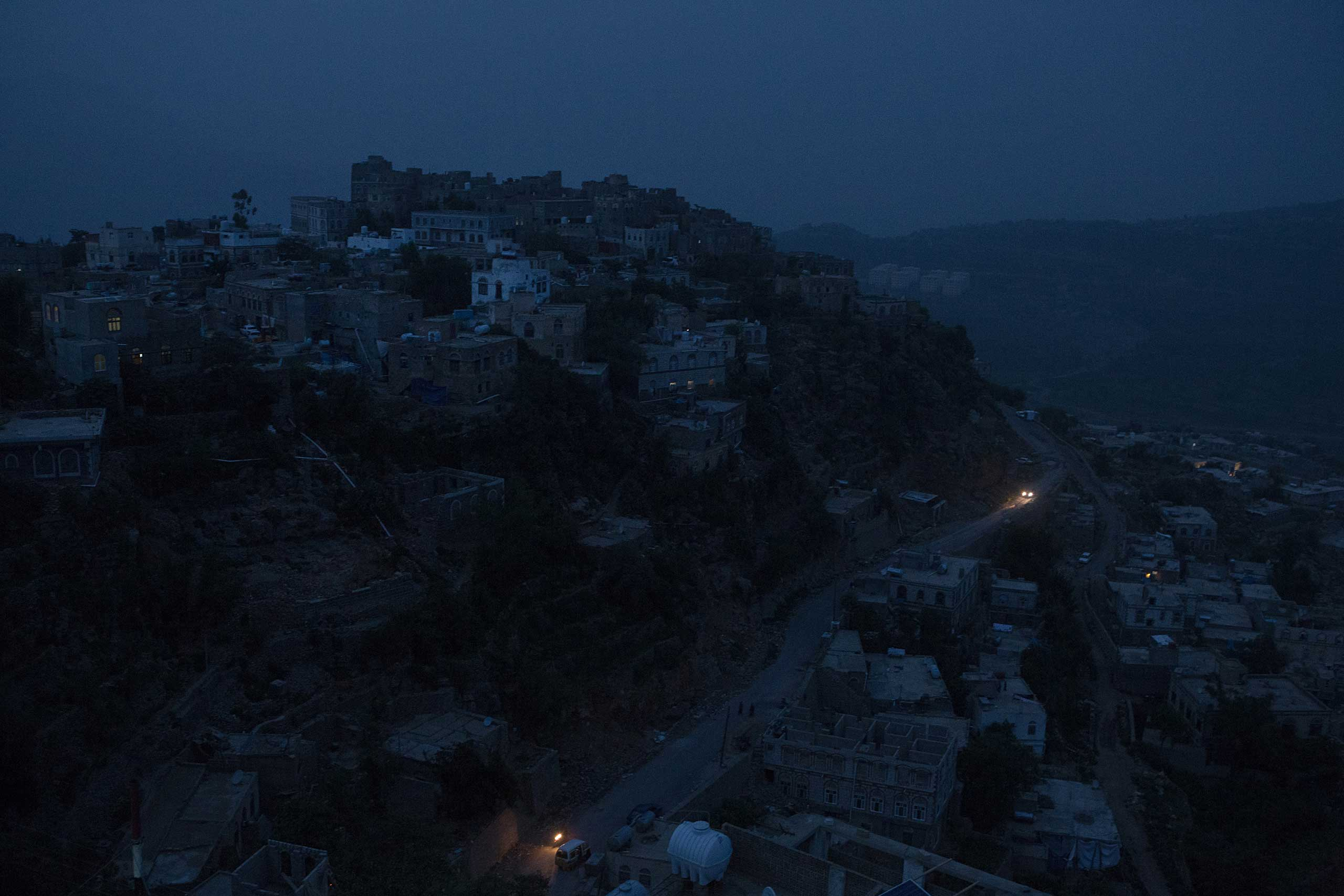 The evening view of the city of Hajjah in the northern provinces of Yemen, where residents live without power, Aug. 19, 2015.