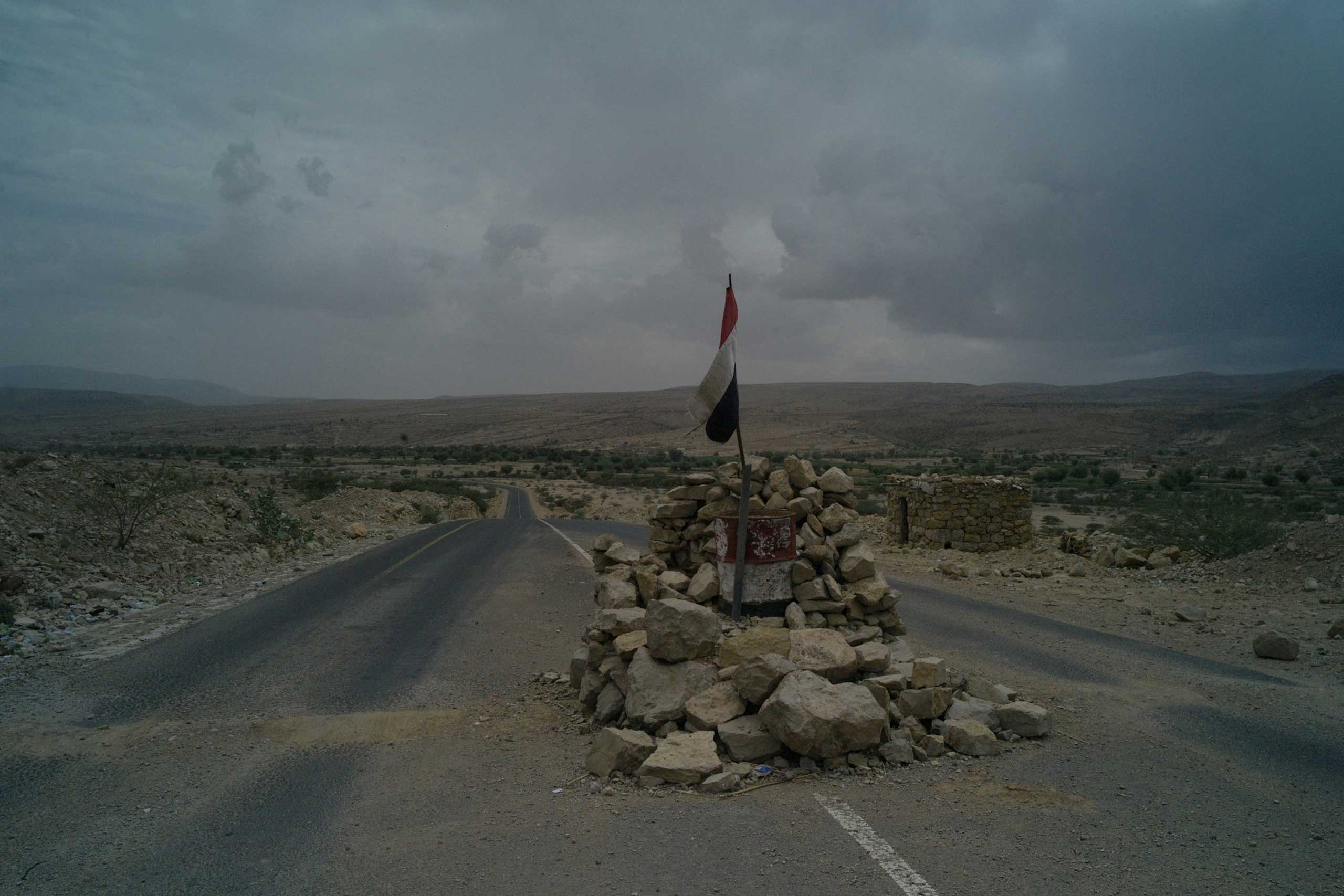 A destroyed checkpoint at the entrance of Saada province, Aug. 2015.