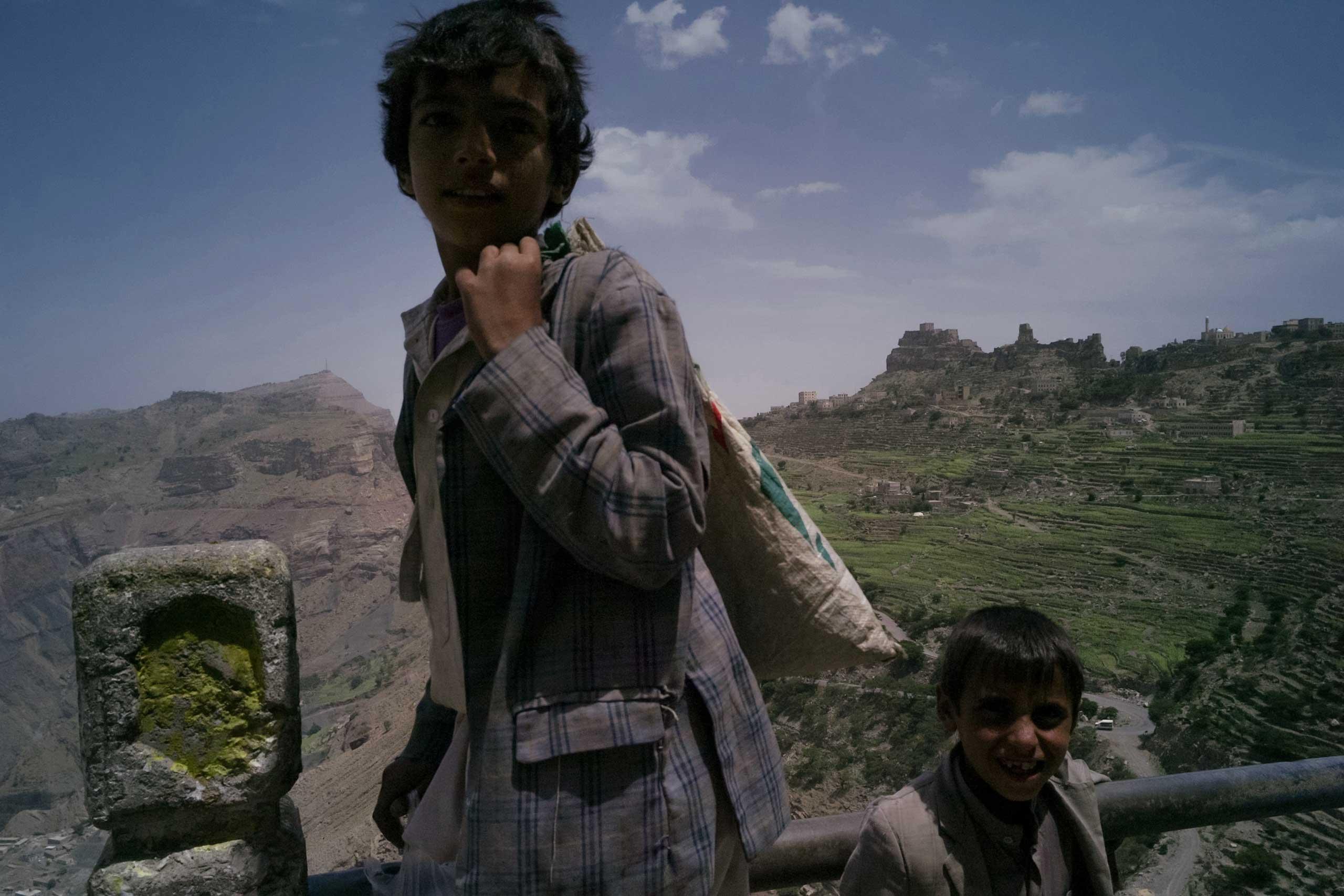 Two boys on the road to Hajjah in northwestern Yemen, Aug. 2015.