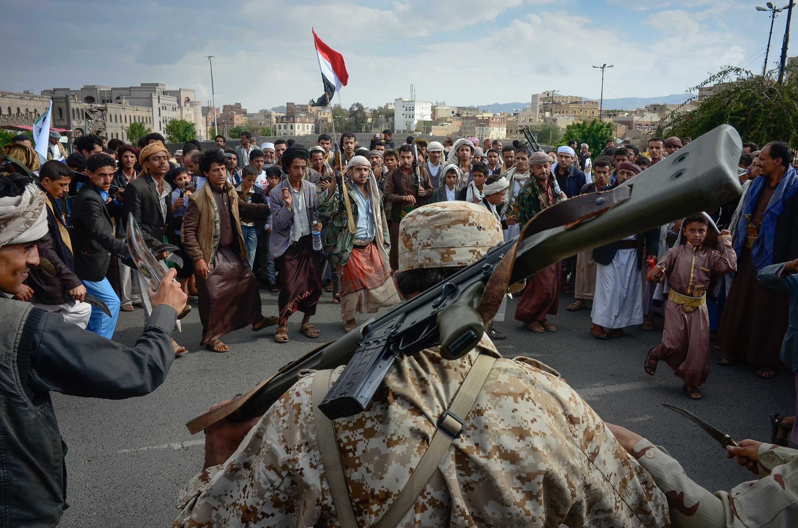 Houthi militants perform a traditional   dance of war called Baraa, during a rally in Sanaa, Yemen, Aug. 24, 2015.
