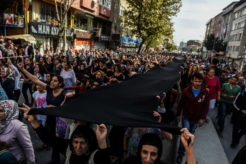 Turkey Ankara attack funeral march