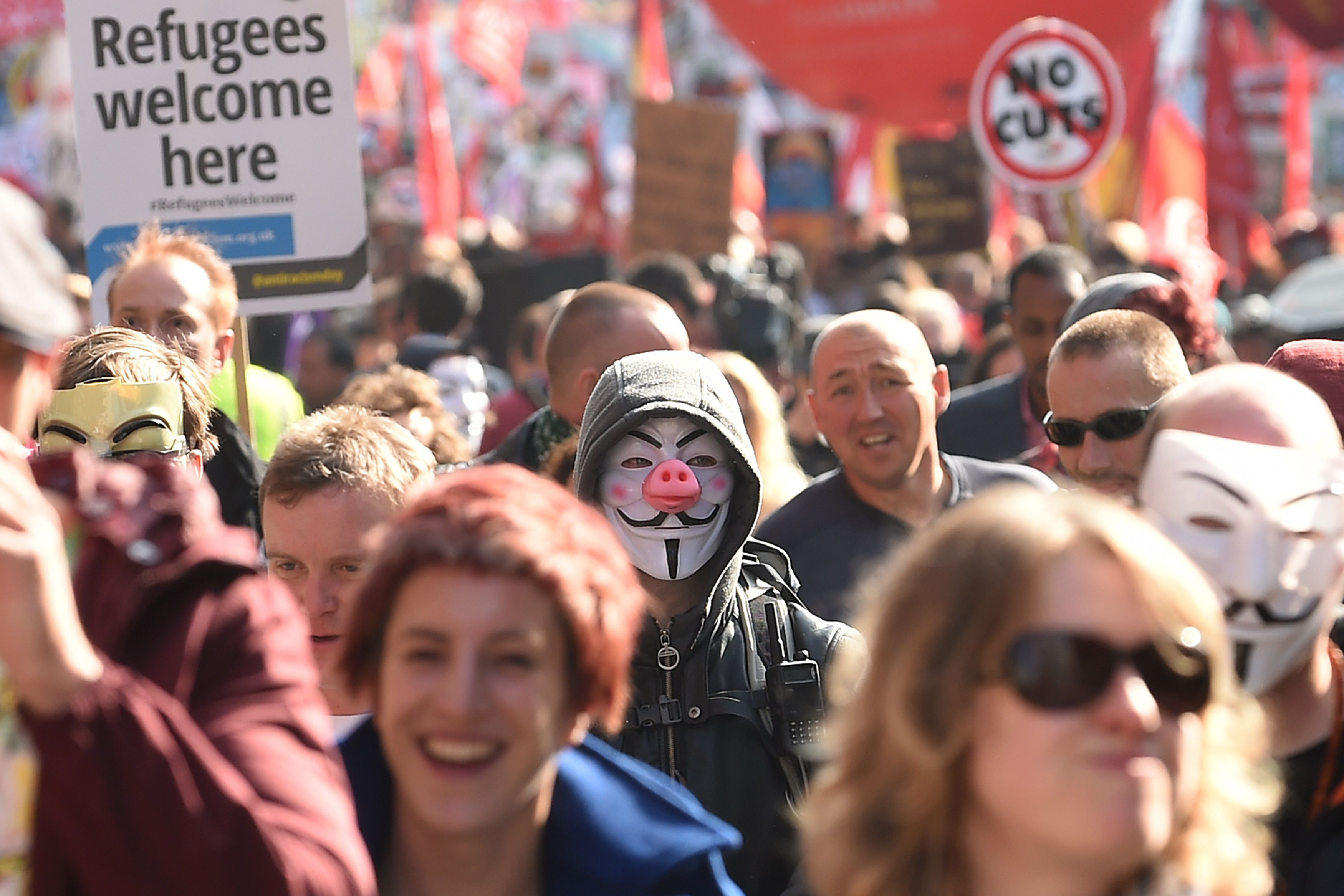 Activists during an anti-austerity march ahead of the start of the Conservative Party Conference in Manchester on Oct. 4, 2015.