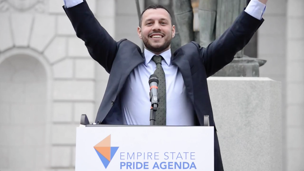 Mathew Shurka in front of the New York State Capital for Equality and Justice Day on April 29, 2014.