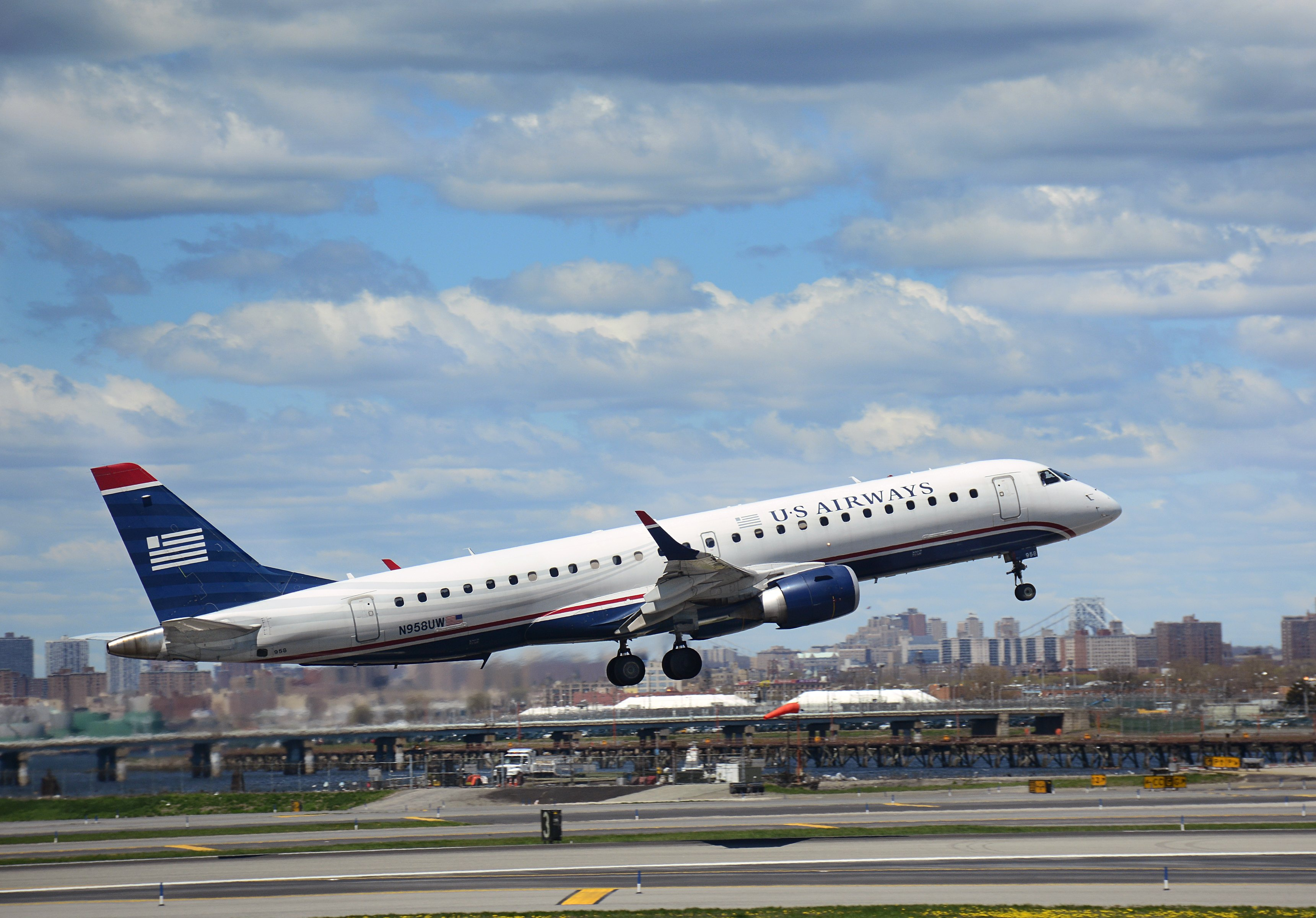 A U.S. Airways passenger aircraft (Bombardier CRJ-200) takes off from LaGuardia Airport in New York City, on April 18, 2015.