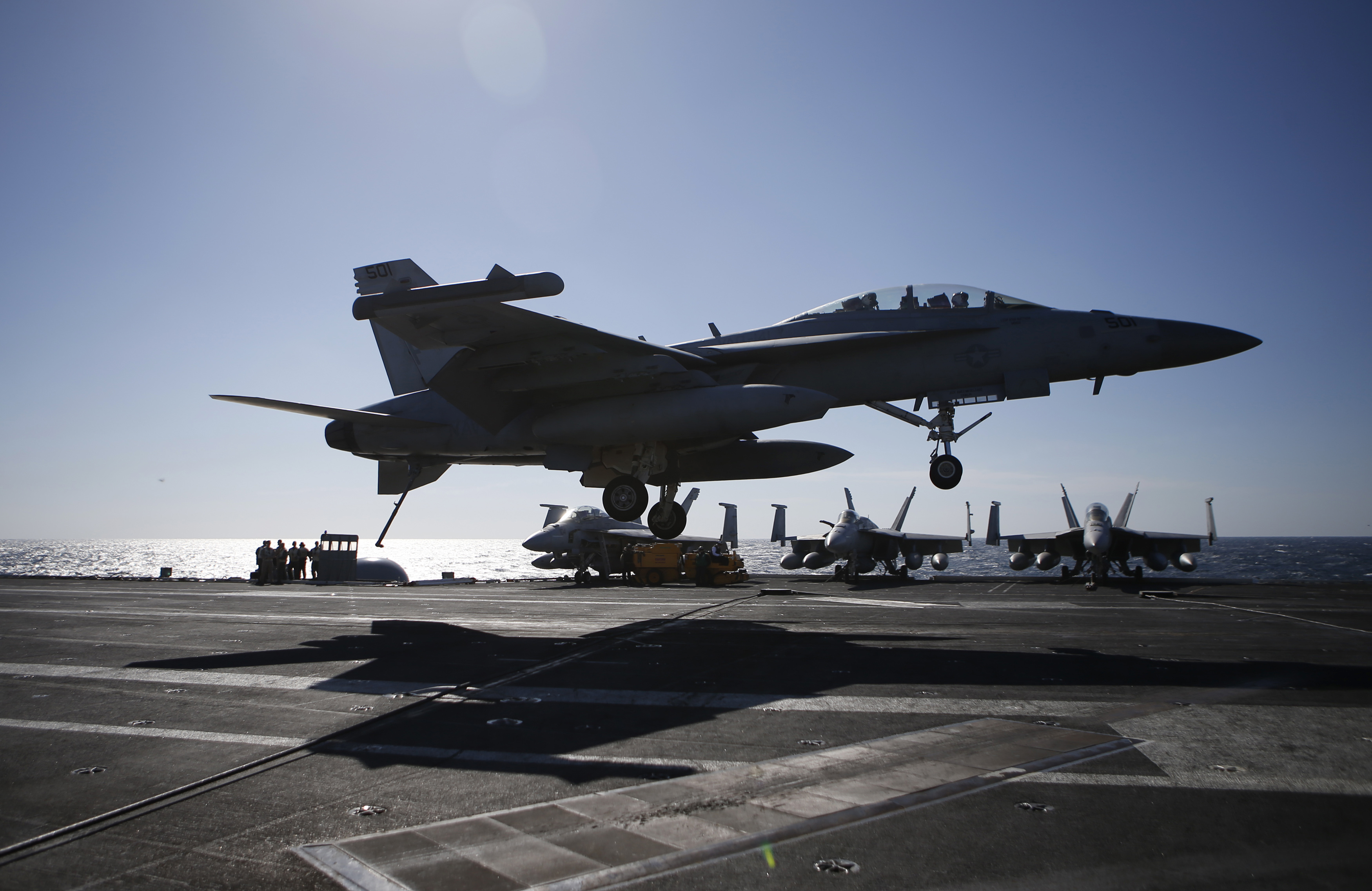 A U.S. Navy F/A-18 Super Hornet fighter lands onto the deck of the USS Ronald Reagan, a Nimitz-class nuclear-powered super carrier, during a joint naval drill between South Korea and the U.S.  on Oct. 28, 2015 in the West Sea, South Korea.