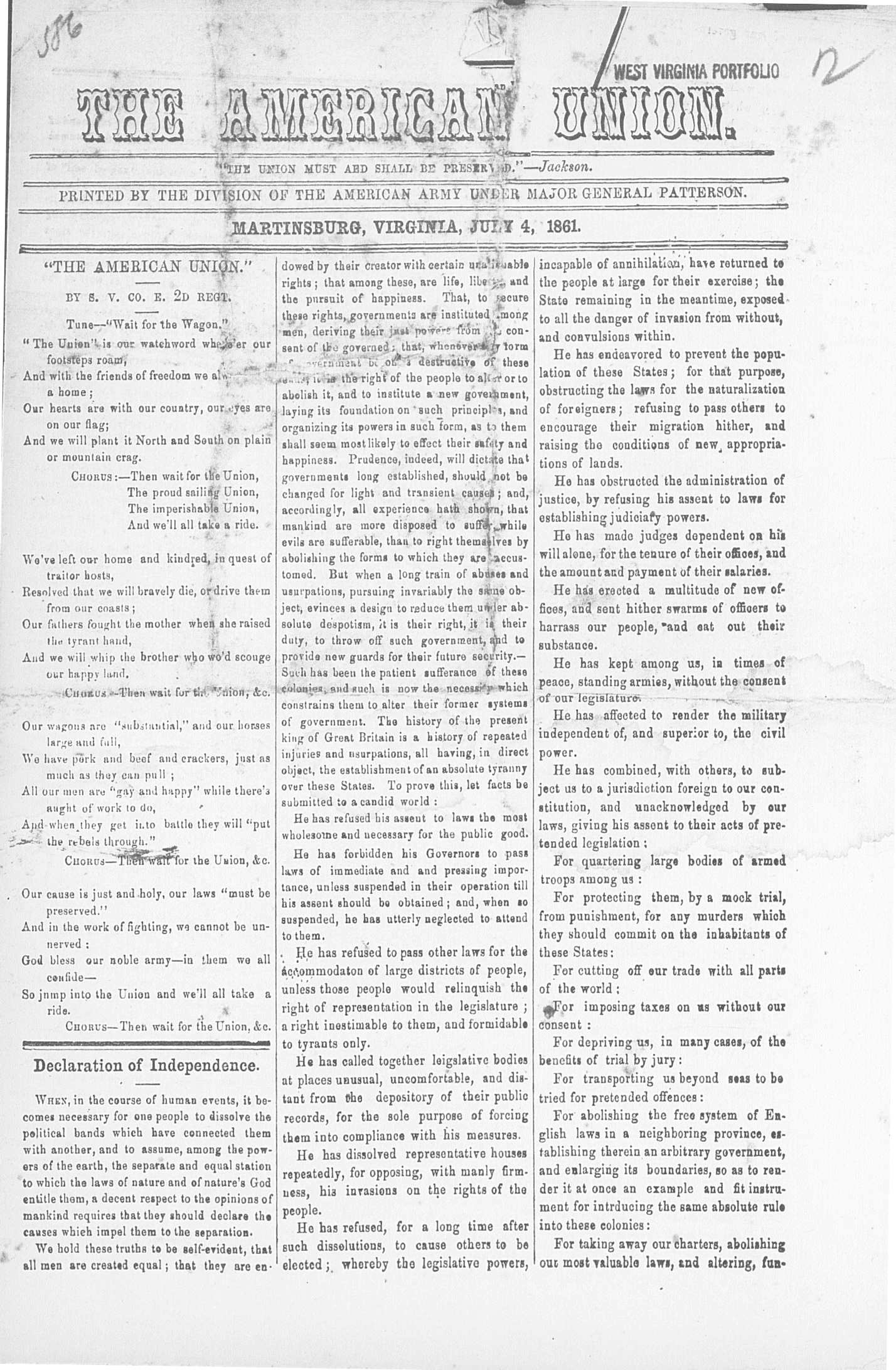 The American Union. (Martinsburg, Va. [W. Va.]),  July 4, 1861. Front page news: The Fourth of July, 1861, printed during the Civil War for the Union Army.