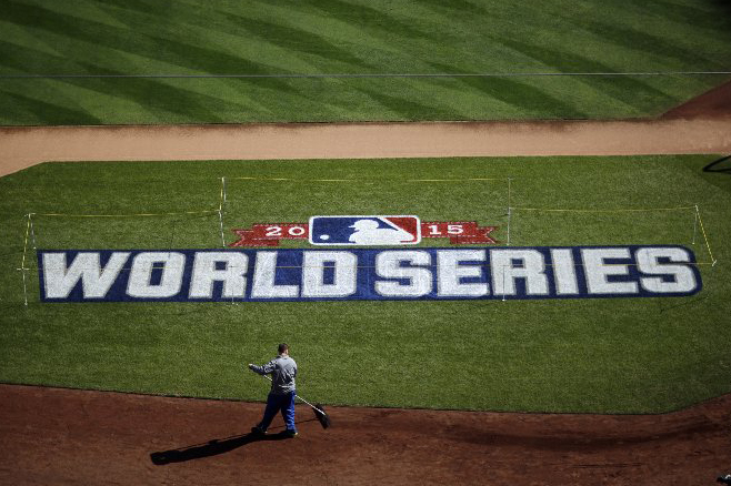 Kauffman Stadium is prepared on Media Day for the Major League Baseball World Series between the New York Mets and the Kansas City Royals in Kansas City, Mo. on Oct. 26, 2015.