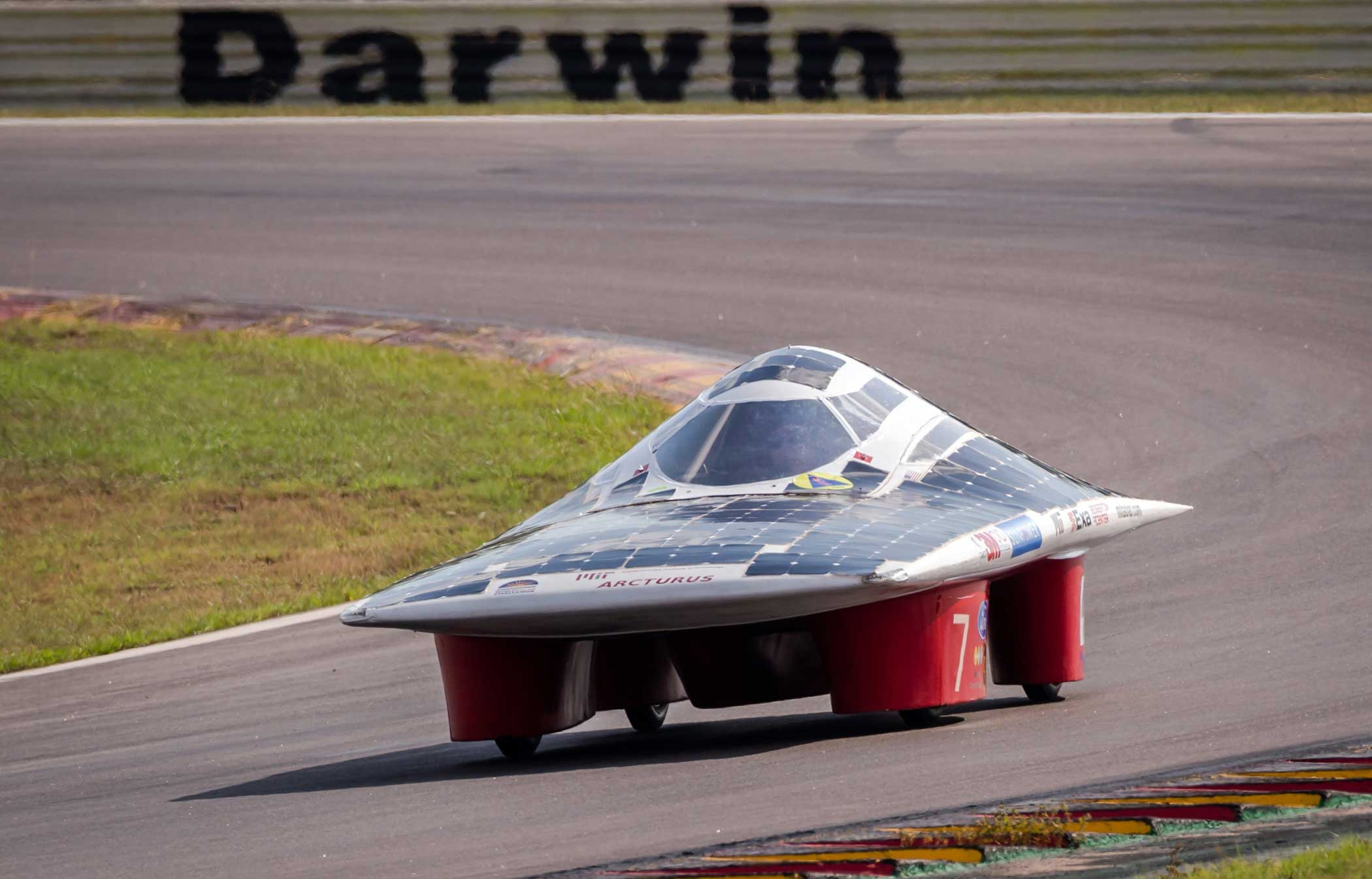 The Massachusetts Institute of Technology Solar Electric Vehicle Team car competes during the qualification lap on Oct. 17, 2015.