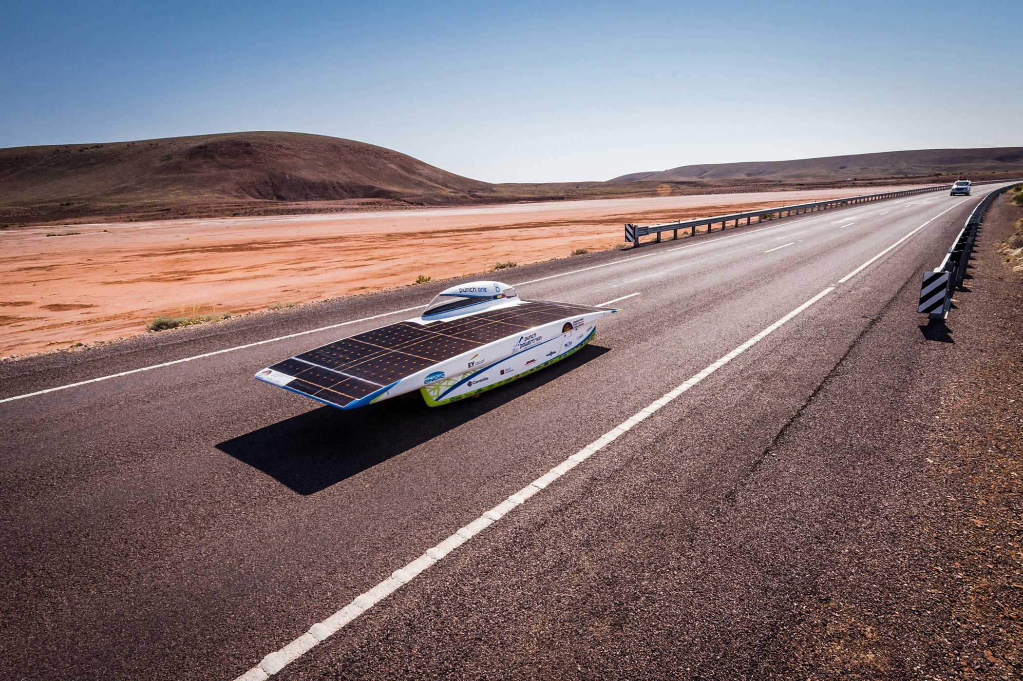 The Belgian Punch Powertrain Solar Team near Glendambo as the team races on Day 4 of the 2015 World Solar Challenge on Oct. 21, 2015. 45 Solar cars from 25 different countries participated in the 3,000 km race from Darwin to Adelaide, Australia