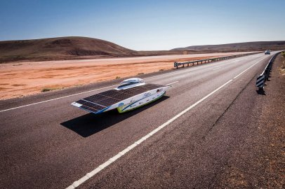 The Belgian Punch Powertrain Solar Team near Glendambo as the team races on day four of the 2015 World Solar Challenge on Oct. 21, 2015.