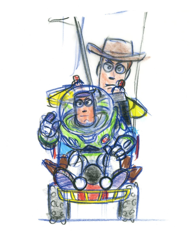 Buzz Lightyear and Woody drawn by Bob Pauley