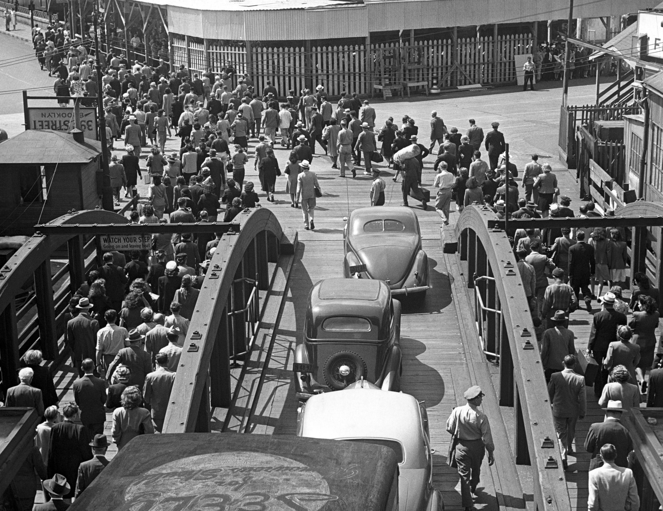 Passengers leaving ferry in Brooklyn.