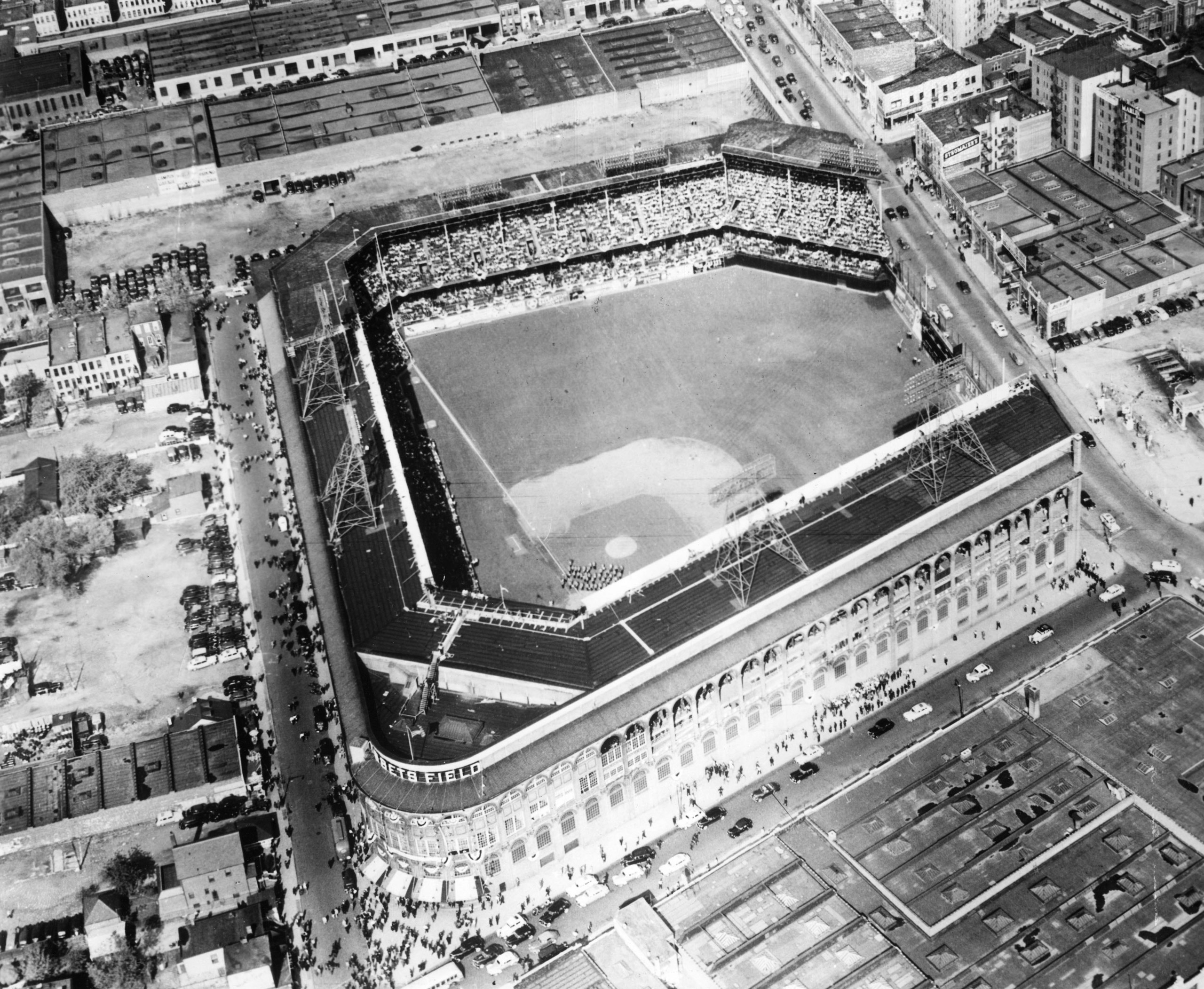 This aerial photo, from high above Brooklyn, shows Ebbets Field in 1950.