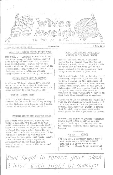 Wives Aweigh Newsletter, February 5, 1946.