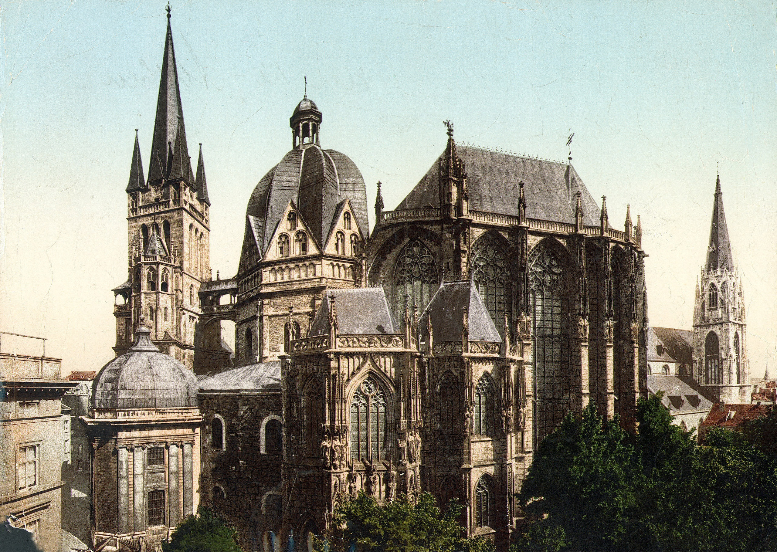 Colorized exterior view of the Aachen Cathedral in 1927. Germany.