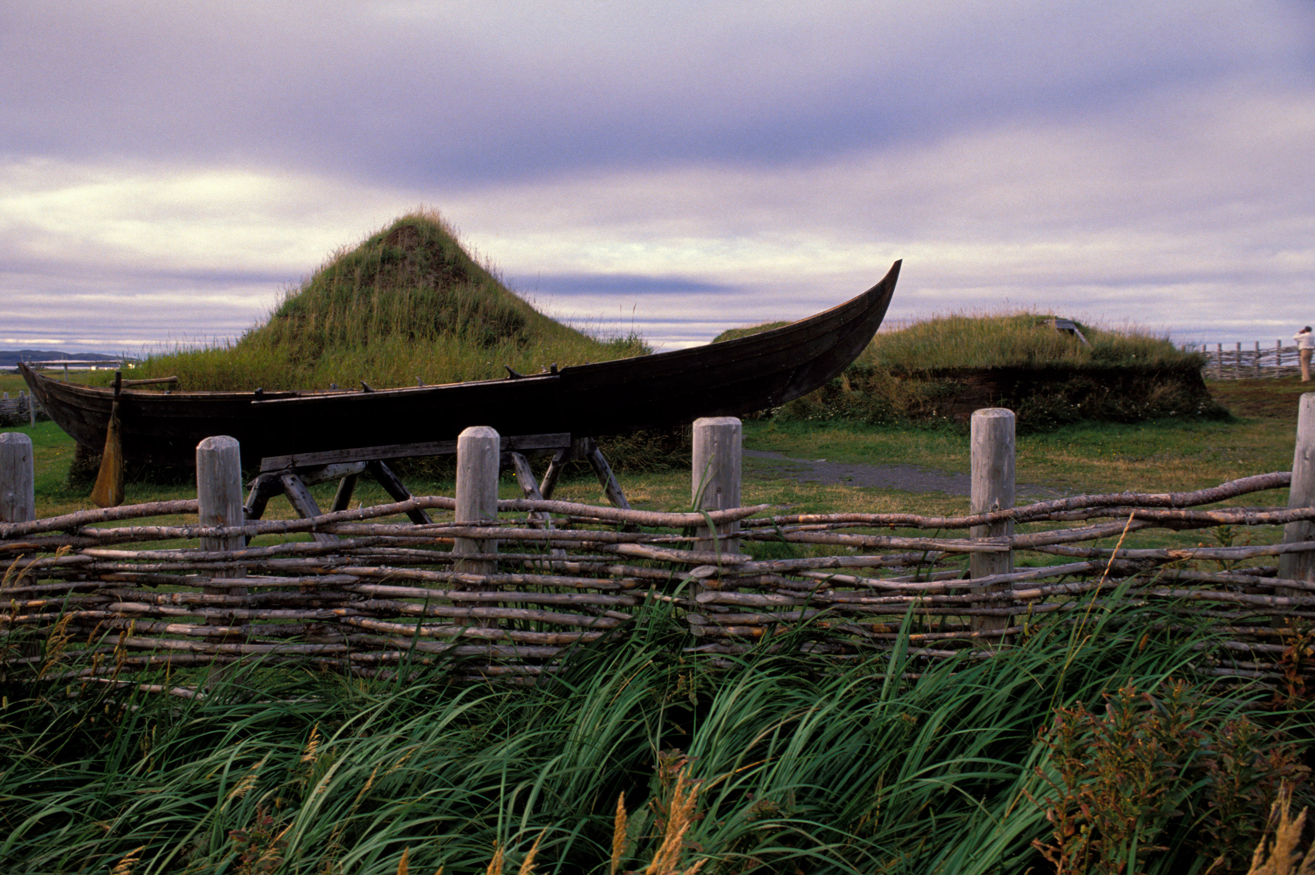 L'anse Aux Meadows National Historic Site in Newfoundland, Canada, Replicas Of Norse Houses From 1000 Years Ago.