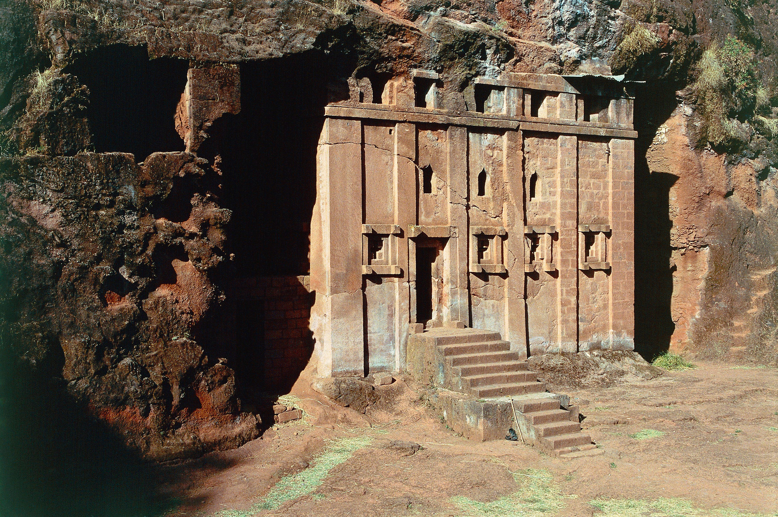 A rock-hewn church in Lalibela, Ethiopia.