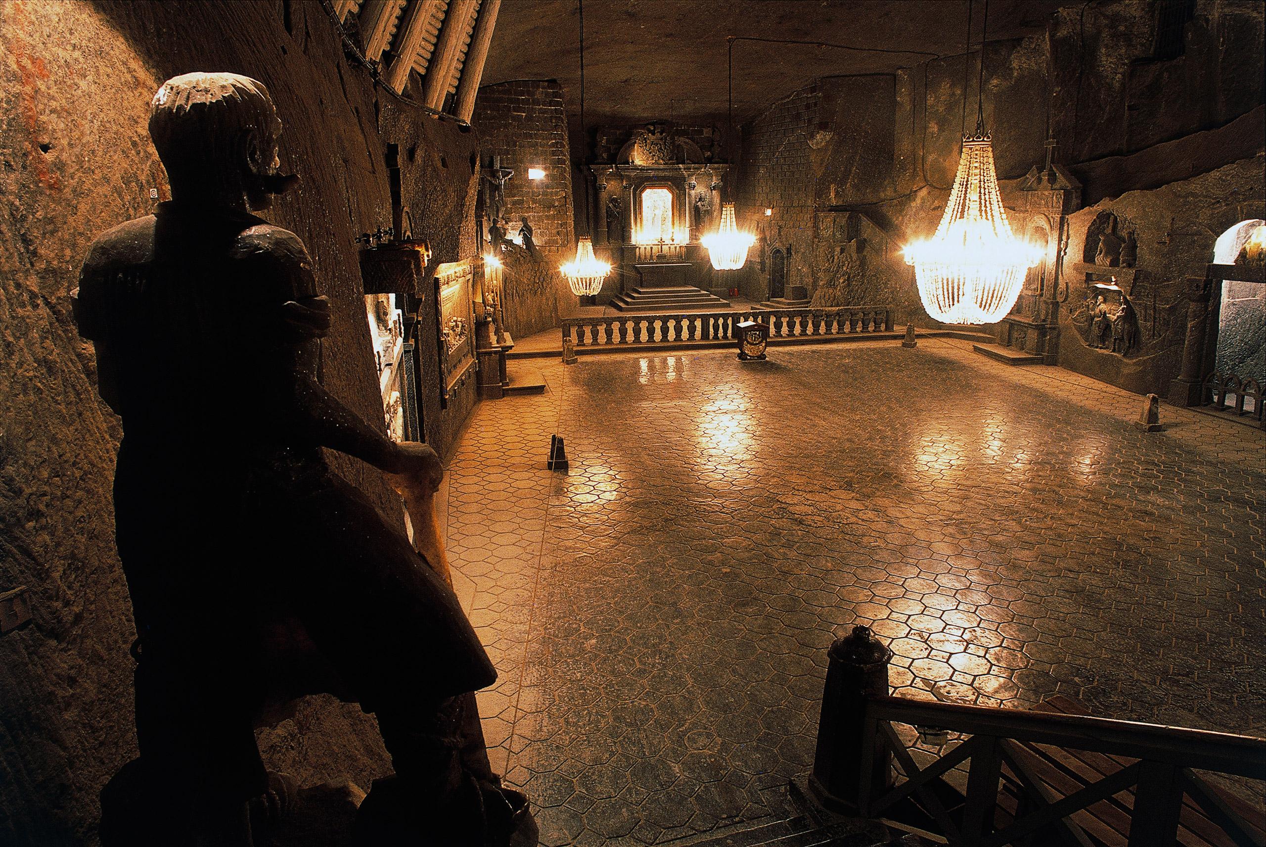 Interior of Wieliczka salt mine in Poland.