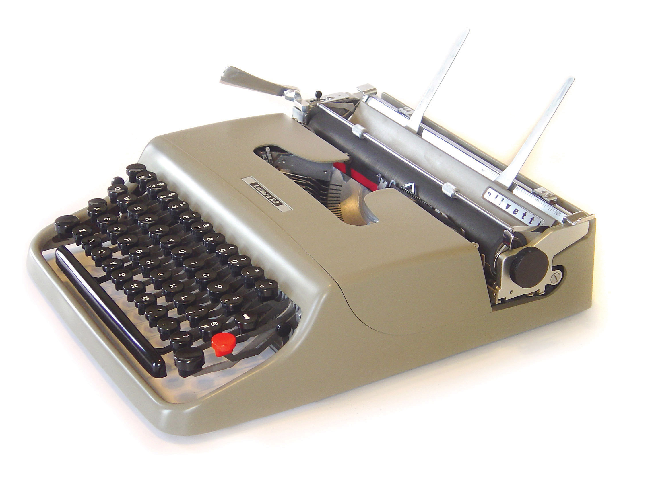 The Olivetti Lettera 22 known as an  ultraportable  was used by people such a Leonard Cohen and Sylvia Plath. ca. 1955