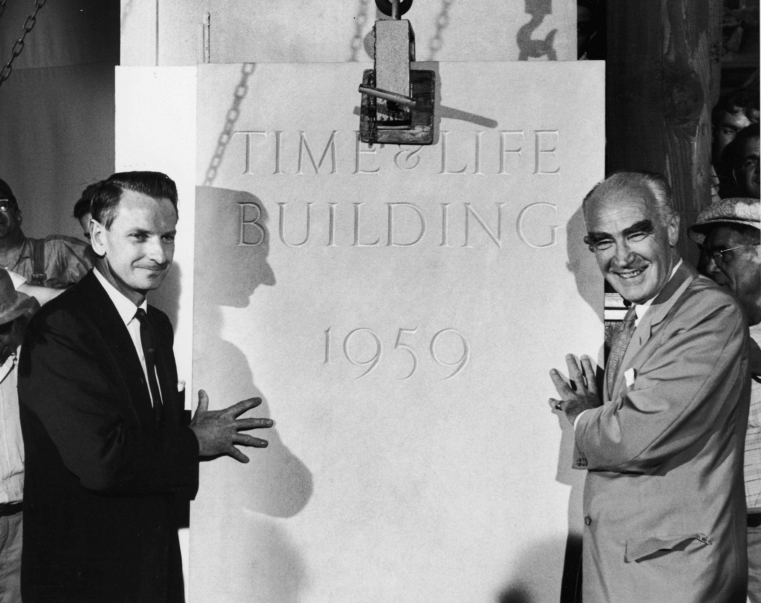 Laurance Rockefeller and TIME co-founder Henry R. Luce at the laying of the cornerstone of the new TIME & LIFE building, 1959.