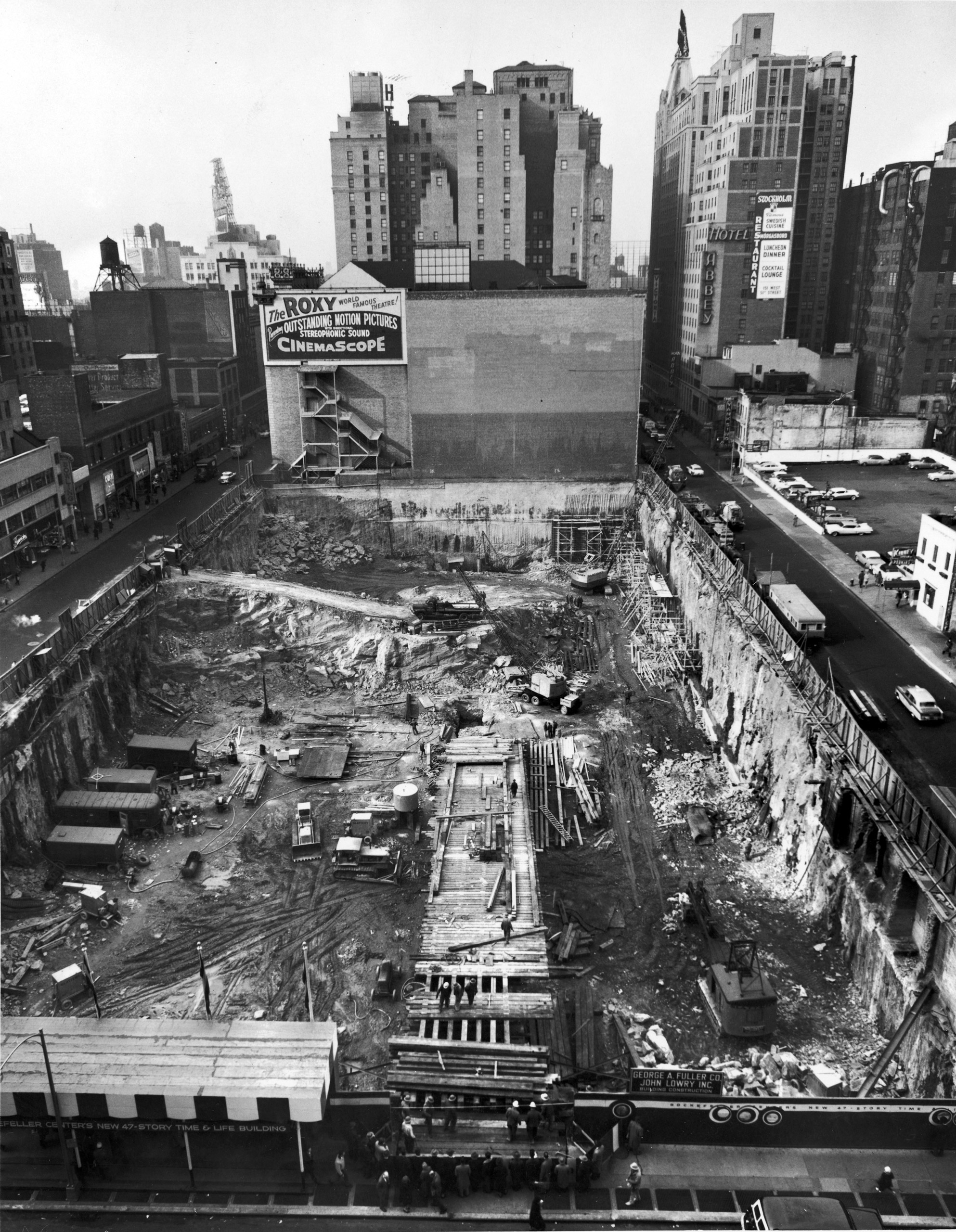 Construction of the Time & Life Building at Avenue of the Americas and 50th Street, 1957.