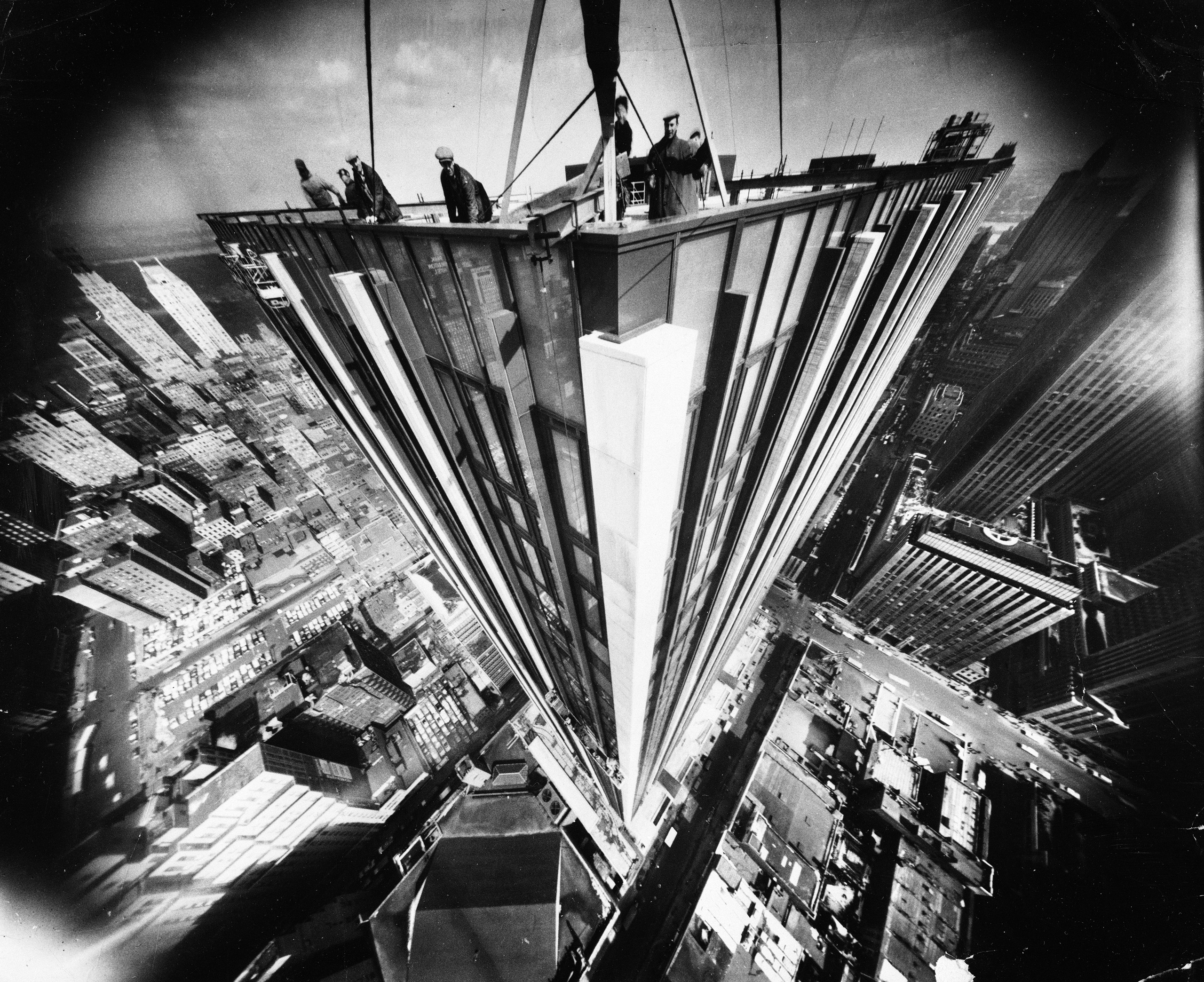 High rise view of the new Time & Life building under construction, 1960.