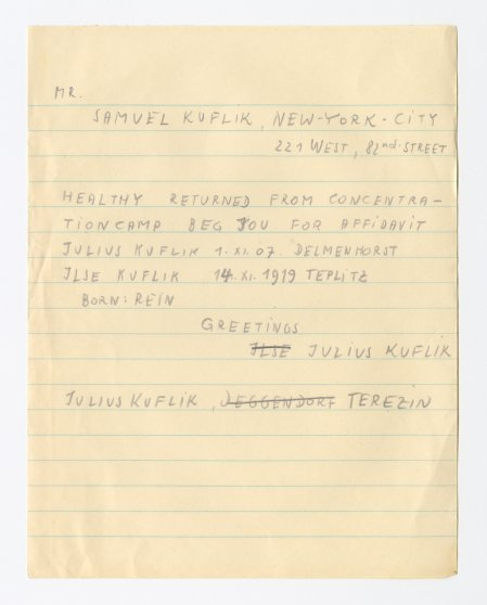 Draft telegram sent by survivors seeking information and assistance.
