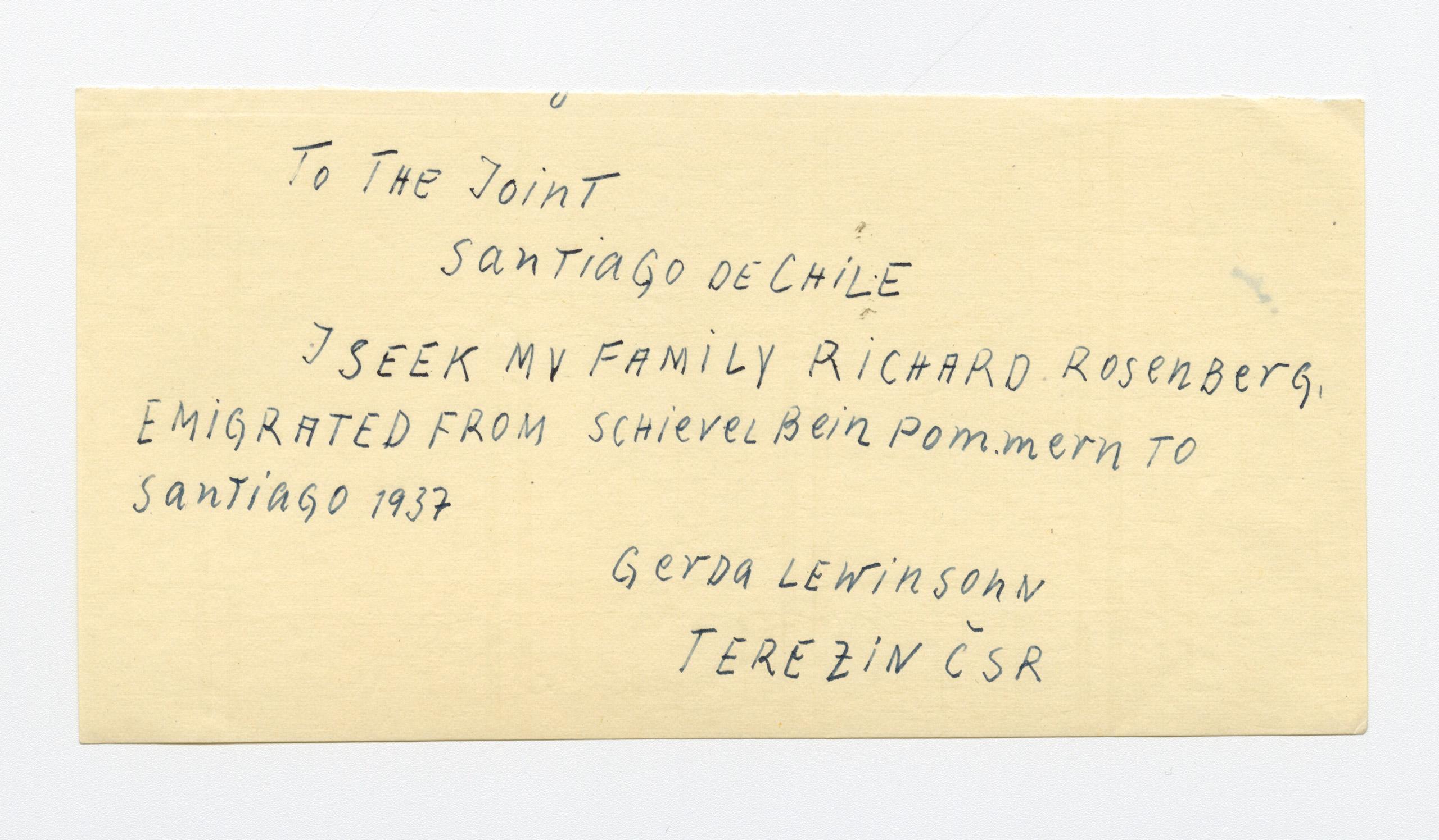 Draft telegram sent by survivors seeking information and assistance.