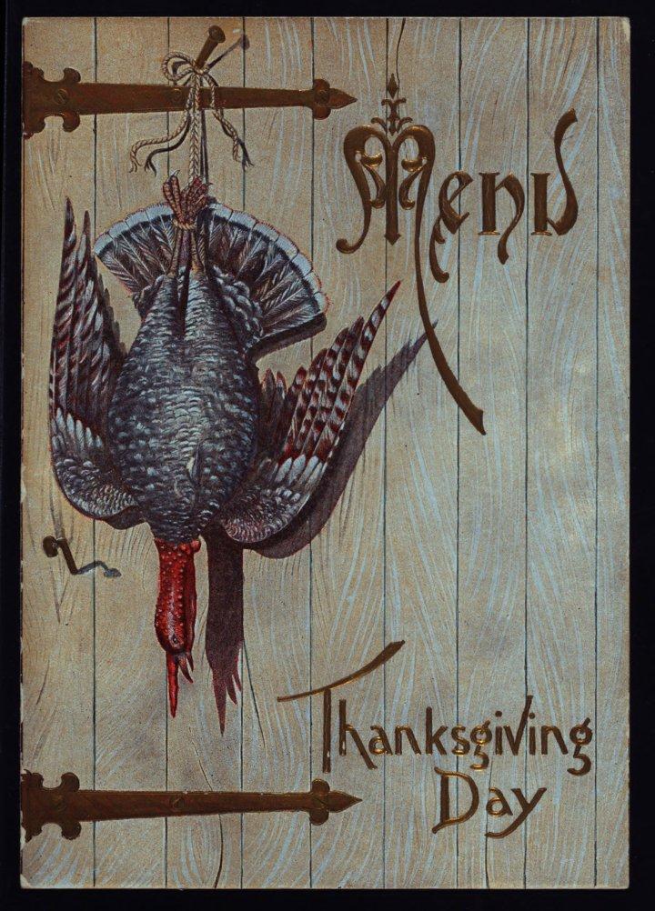 Thanksgiving Day menu at Hotel St. James, Bradford, PA, 1899.