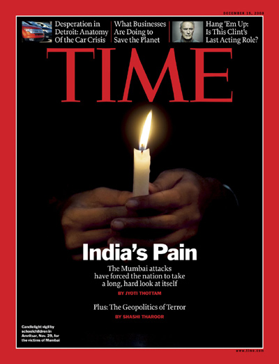 India's Pain,  cover of TIME's Dec. 4, 2008 issue.