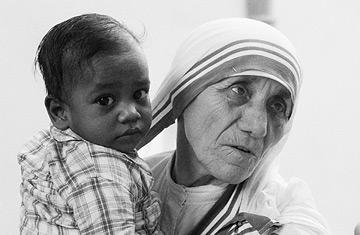 Mother Teresa in a Calcutta orphanage, 1979.