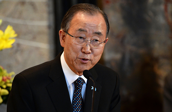 U.N. Secretary-General Ban Ki-moon visits the Empire State Building on Oct. 23, 2015, in New York City