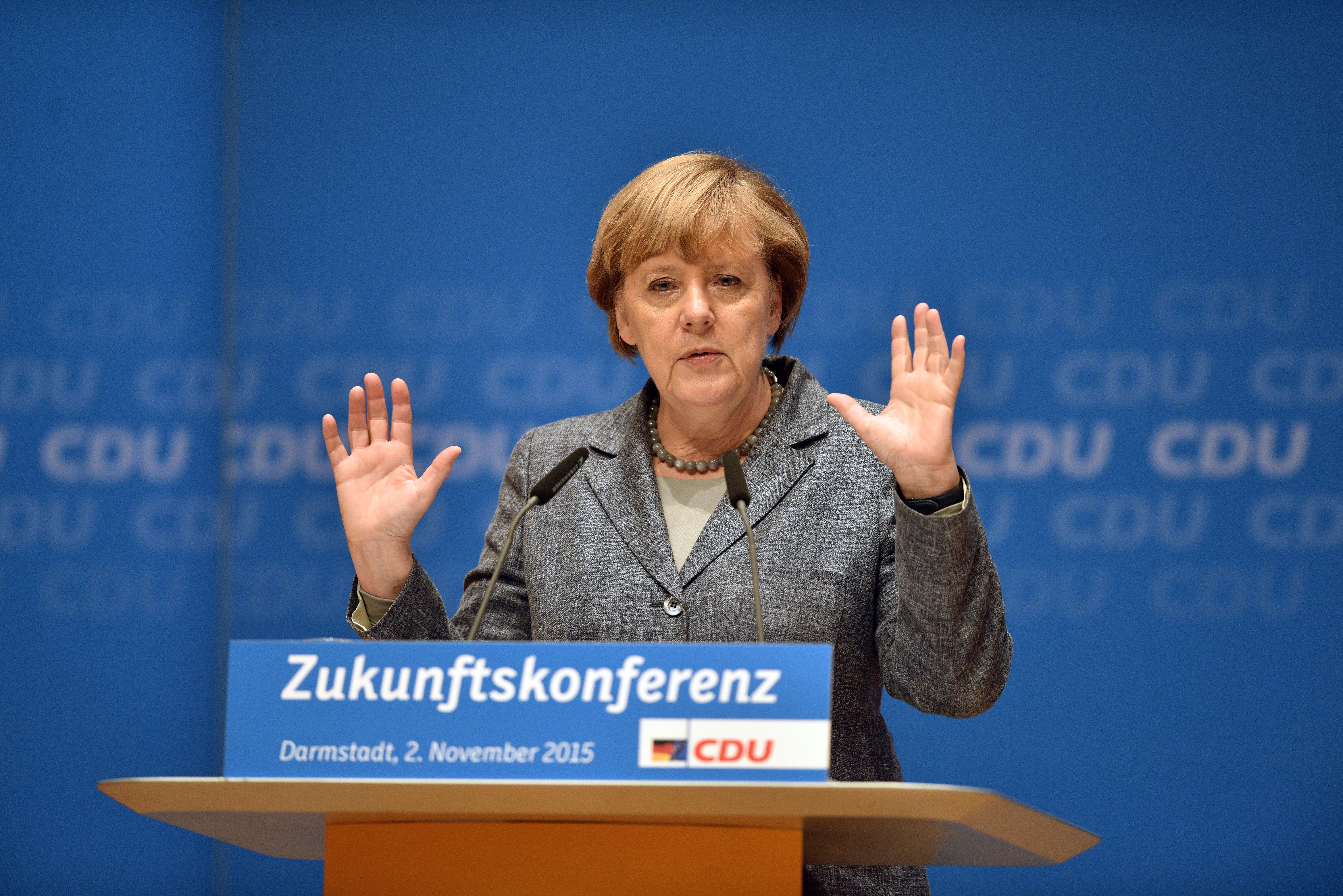 German Chancellor and Chairwoman of the German Christian Democrats (CDU) Angelika Merkel speaks to CDU members while attending a regional  Future Conference  on Nov. 2, 2015 in Darmstadt, Germany.