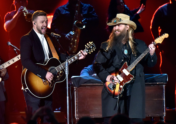 Musician Justin Timberlake (L) performs onstage with Singer-songwriter Chris Stapleton (R)performs onstage at the 49th annual CMA Awards at the Bridgestone Arena on November 4, 2015 in Nashville, Tennessee