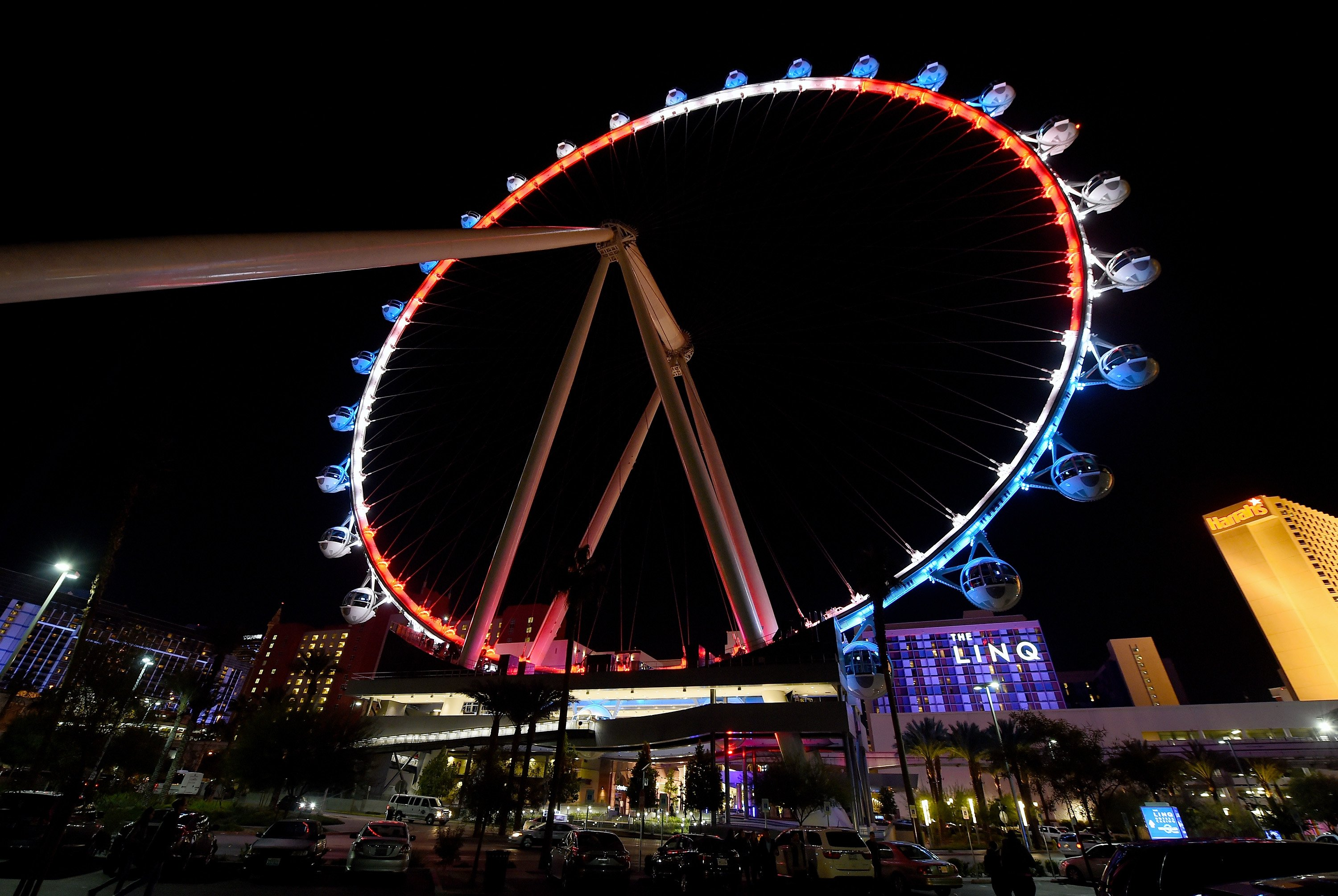 The High Roller at The LINQ Promenade on the Las Vegas Strip is lit up on Nov. 13, 2015.