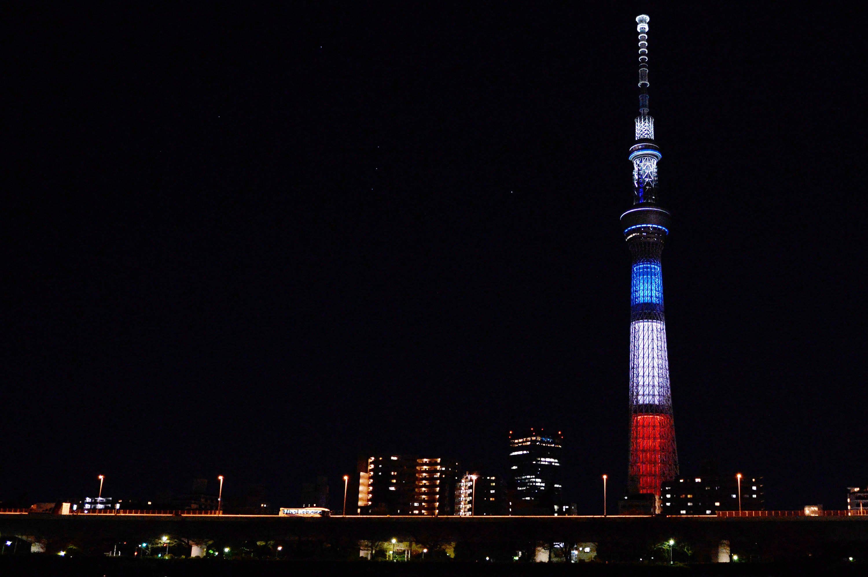 The Tokyo Skytree illuminated the color of the French flag in Tokyo, on Nov. 15, 2015.