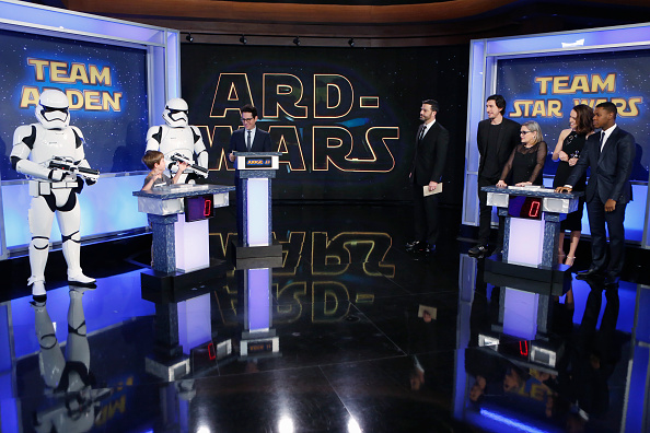 Jimmy Kimmel guests from  Star Wars: The Force Awakens  included director J.J. Abrams and cast members Adam Driver, Daisy Ridley, John Boyega and Carrie Fisher.
