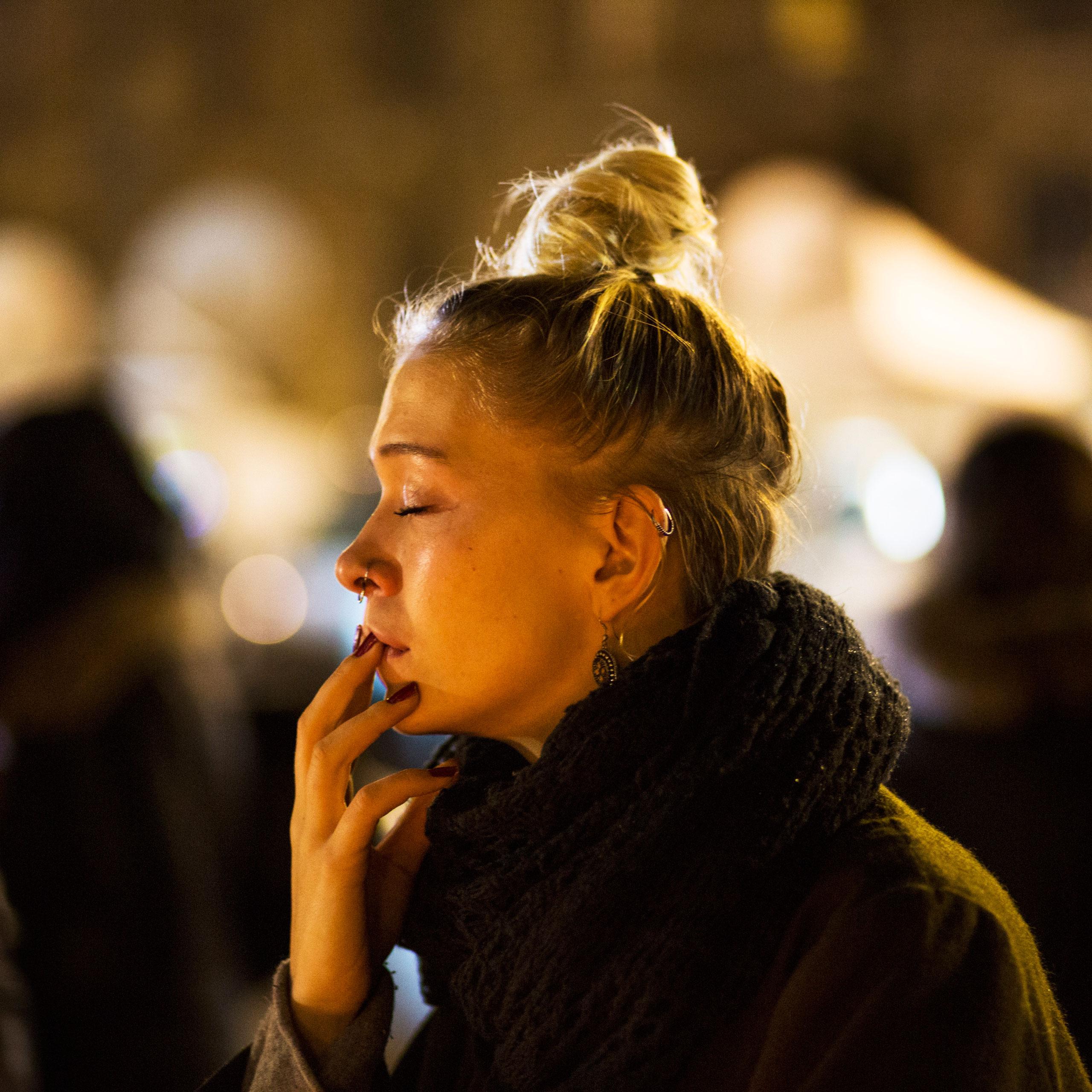 Mourners on Place de la Republique. Paris, Nov. 16, 2015.