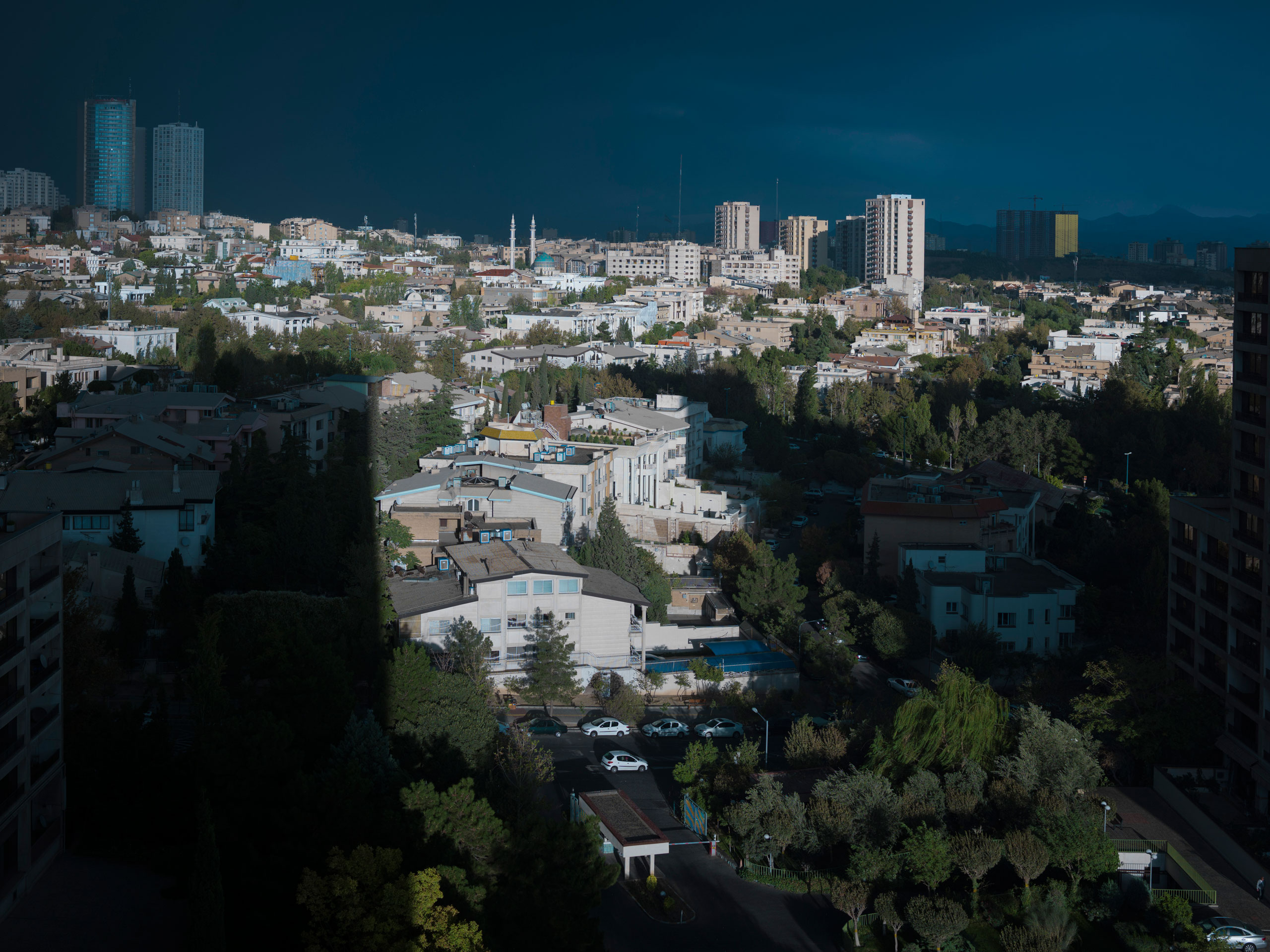 View of the Shahrak-e Gharb neighborhood, in the modern Tehran west side.