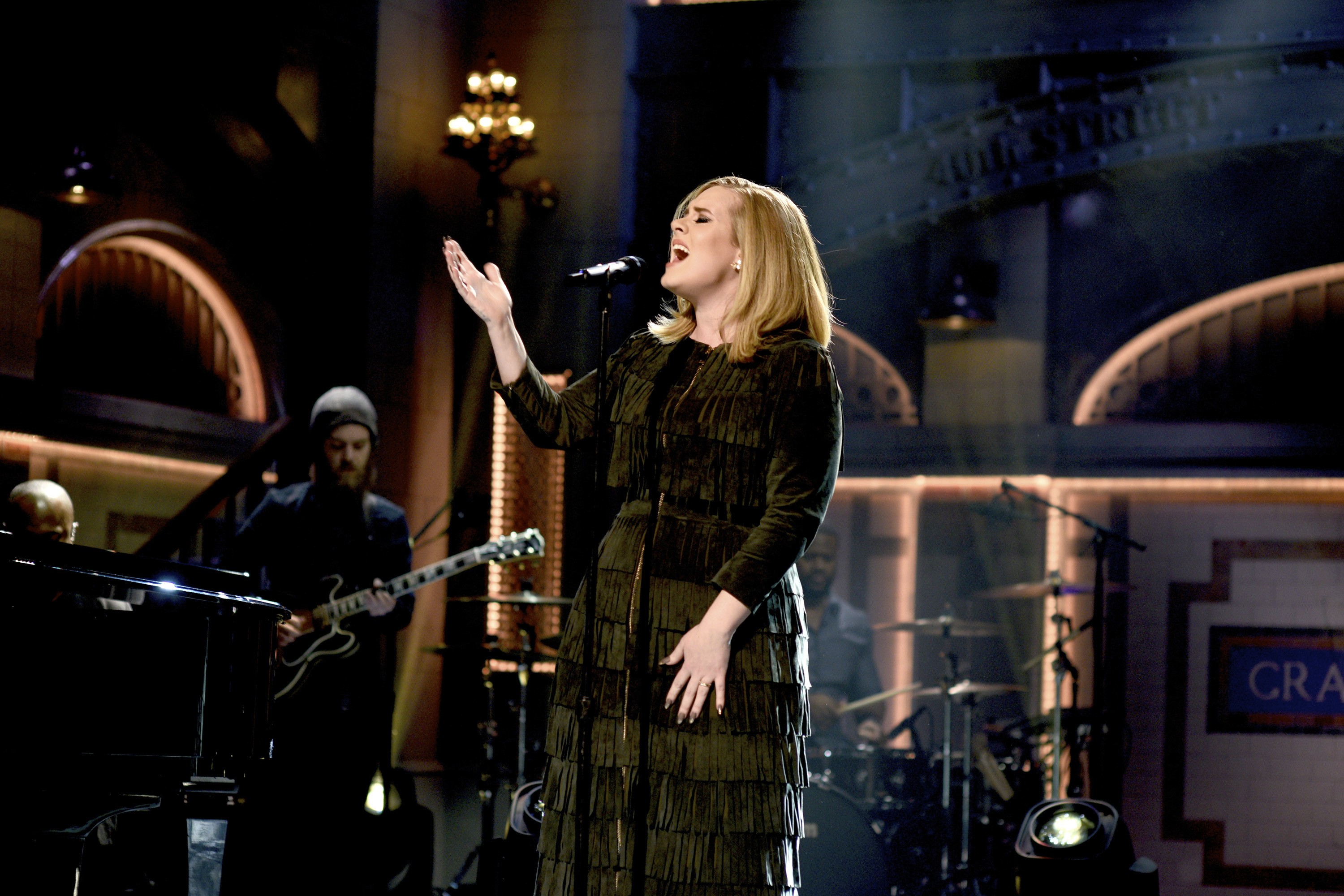 Musical guest Adele performs on Saturday Night Live in New York City on Nov. 21, 2015.