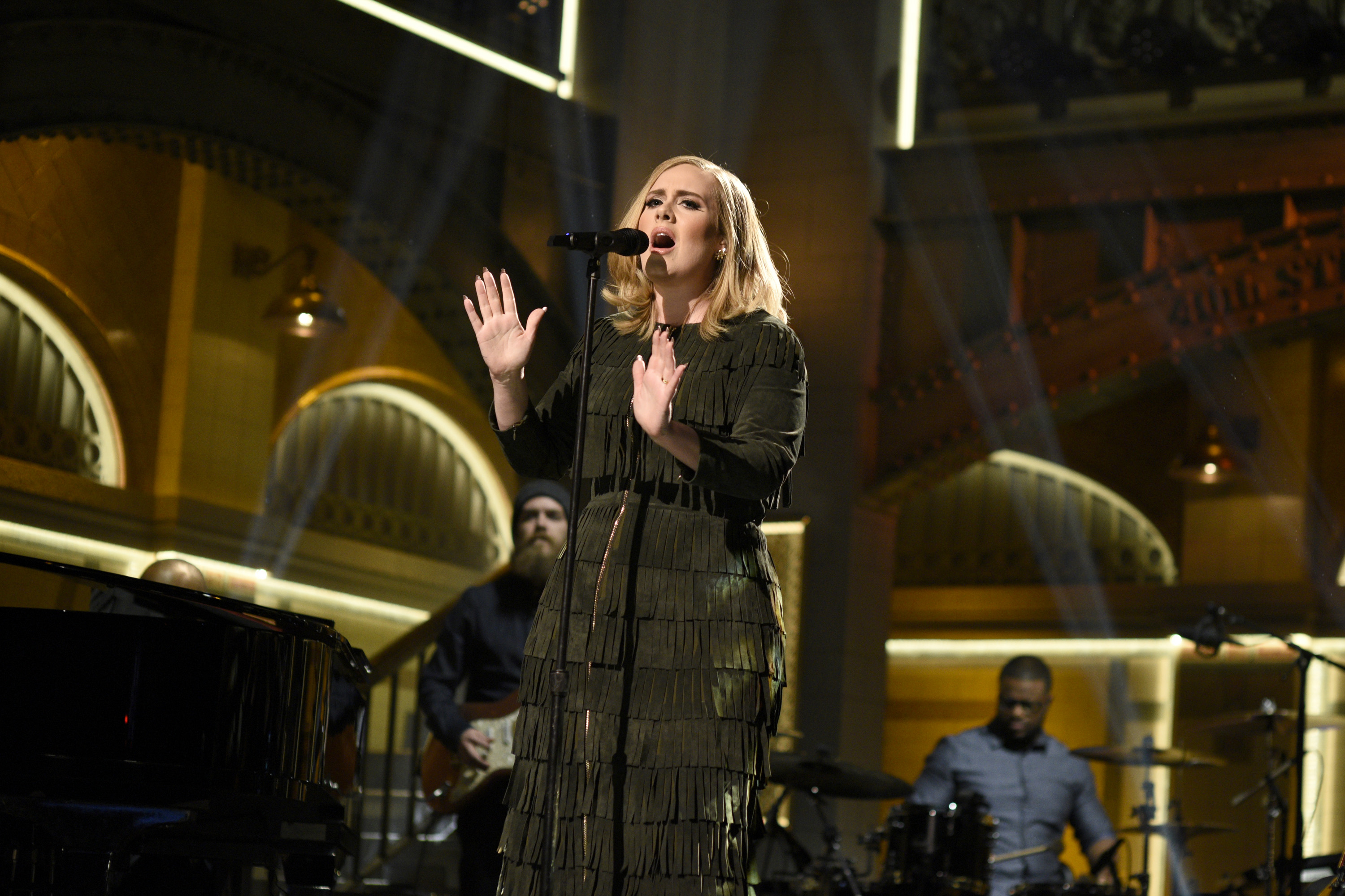 Adele performs during Saturday Night Live on Nov. 21, 2015 in New York City.
