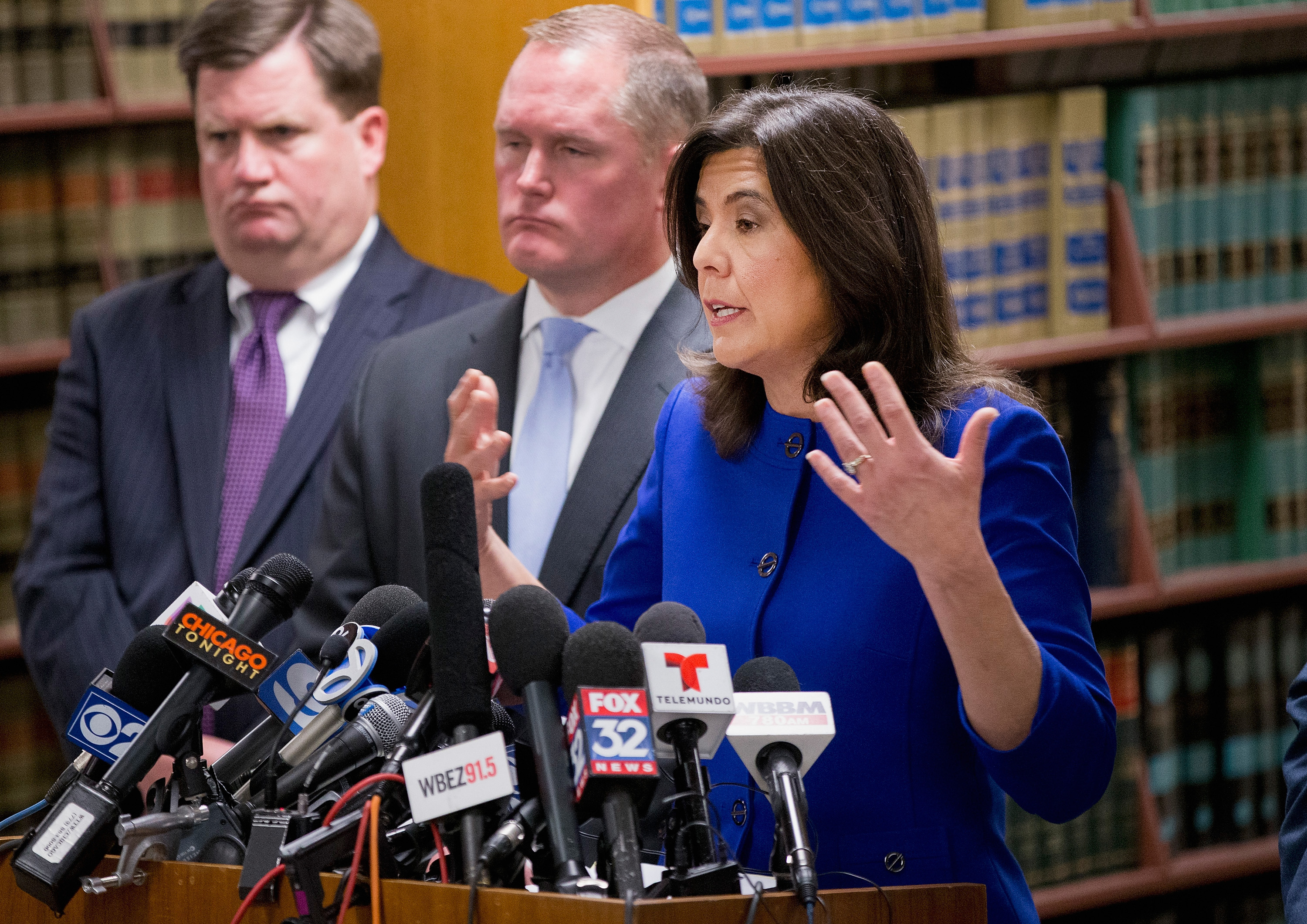 Cook County State's Attorney Anita Alvarez speaks to the media about Chicago Police officer Jason Van Dyke following a bond hearing for Van Dyke at the Leighton Criminal Courts Building in Chicago on Nov. 24, 2015.