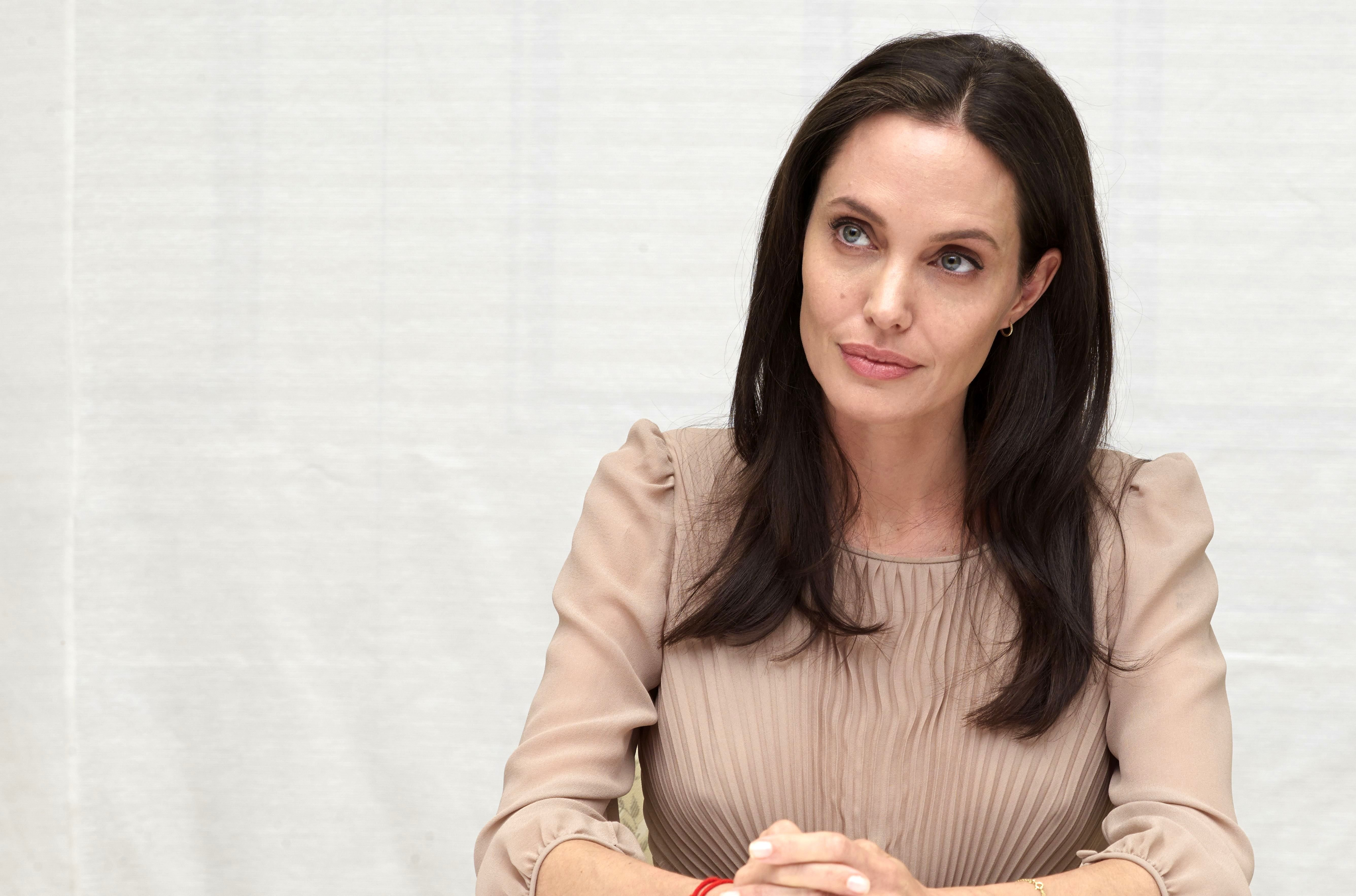 Angelina Jolie at a 'By the Sea' film press conference, Los Angeles, Oct. 2015.